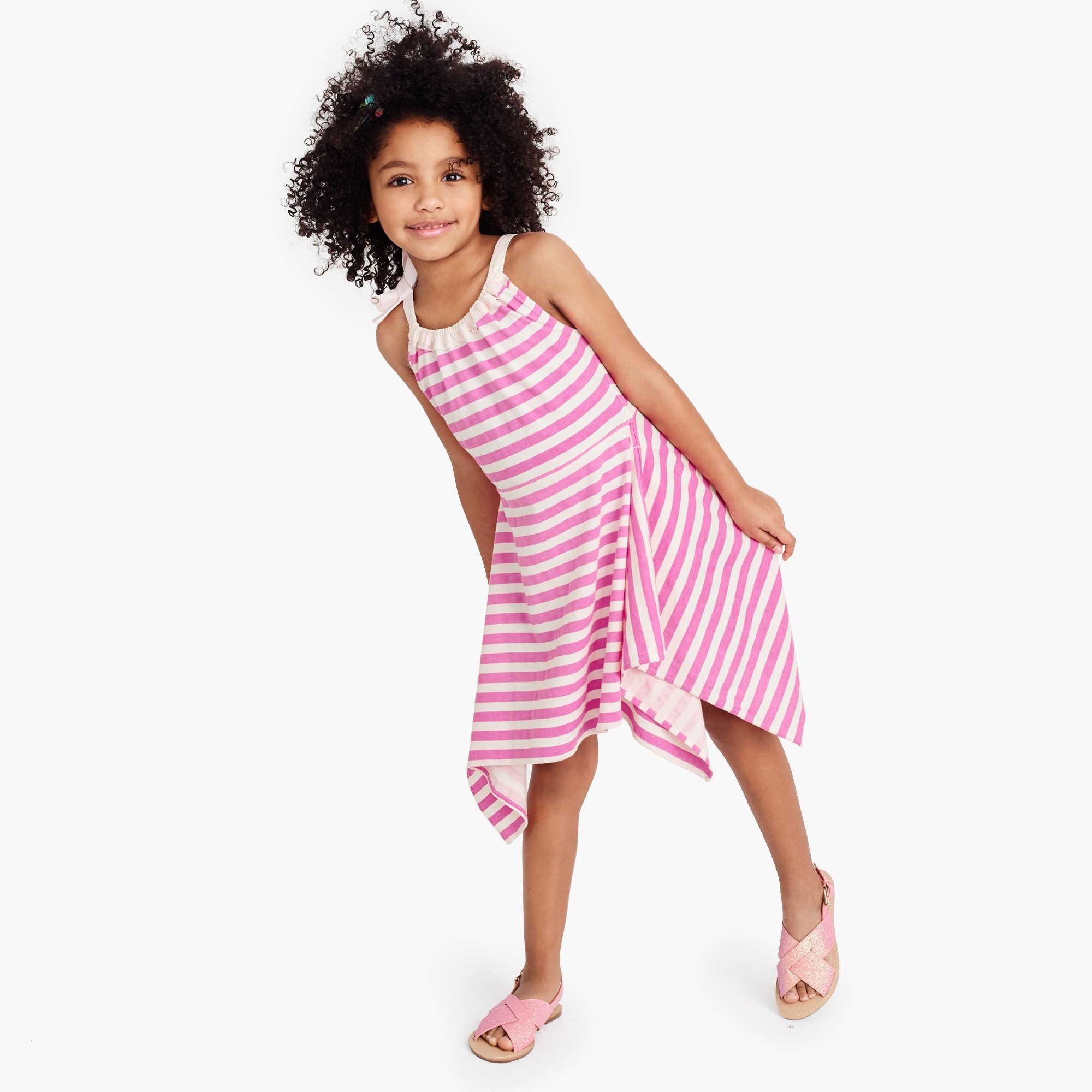 girls' shoulder-bow striped handkerchief dress : girl dresses