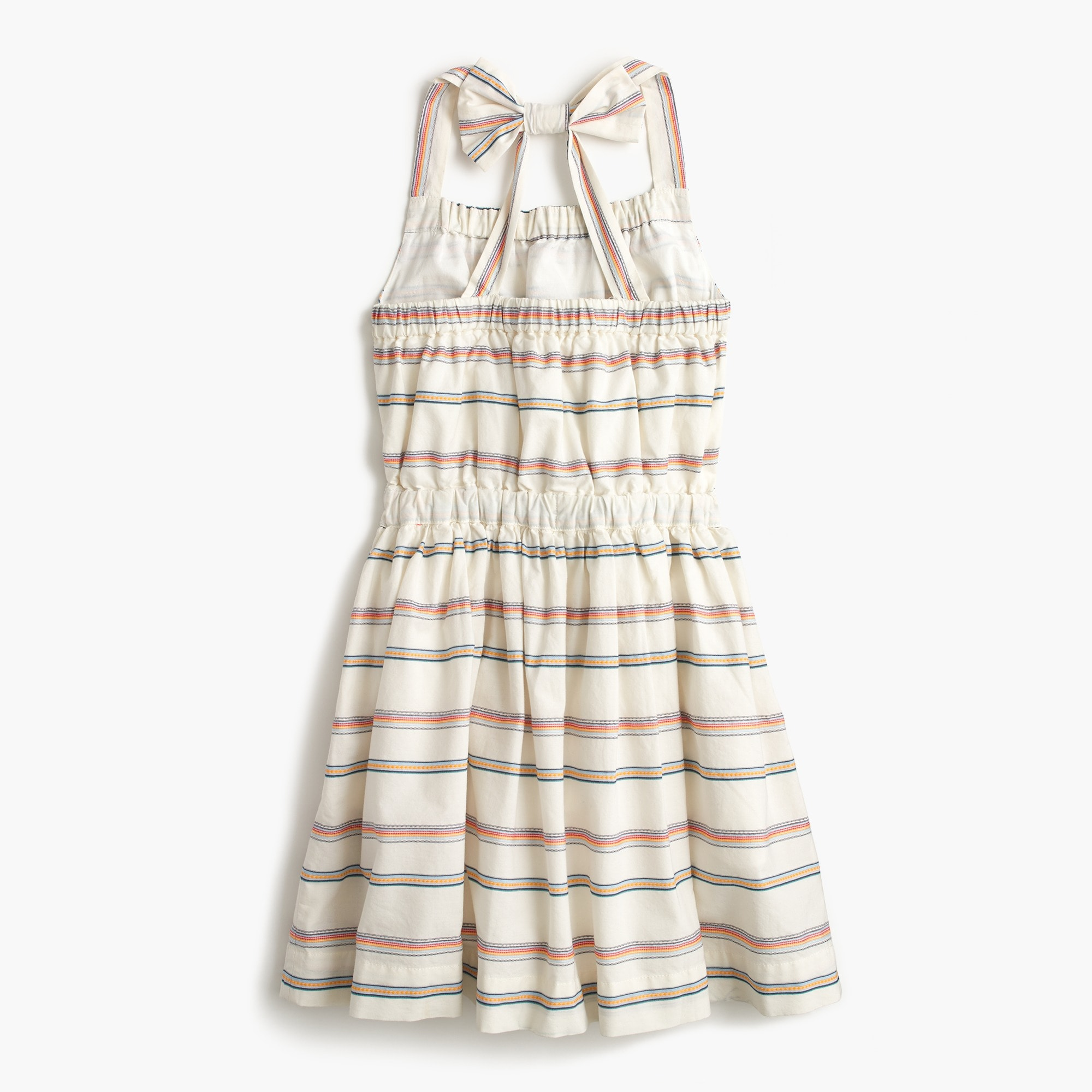 Girls' striped bow-back dress