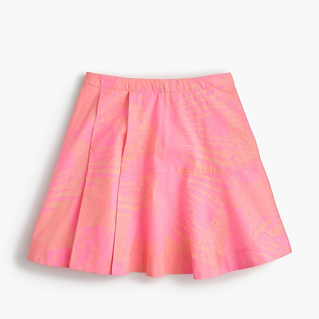 Girls' pleated skirt in neon foliage print