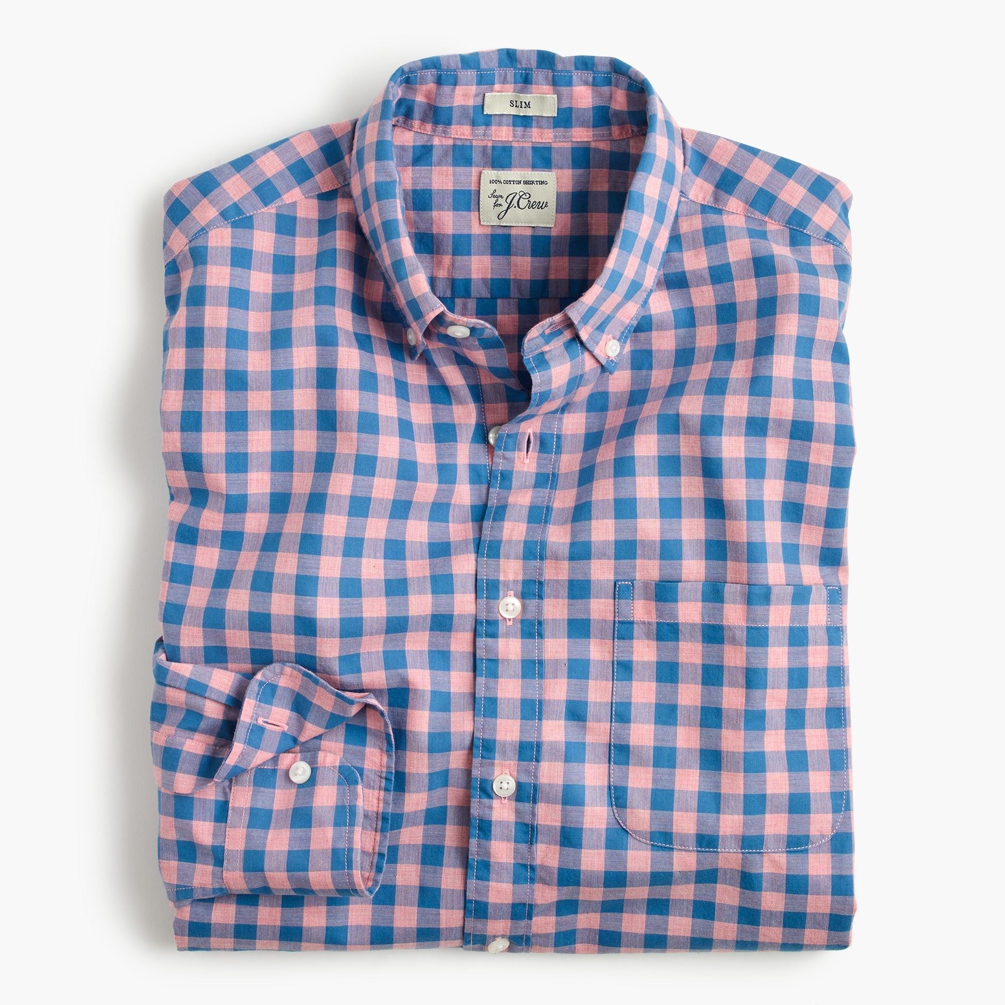 Slim heather poplin shirt in gingham