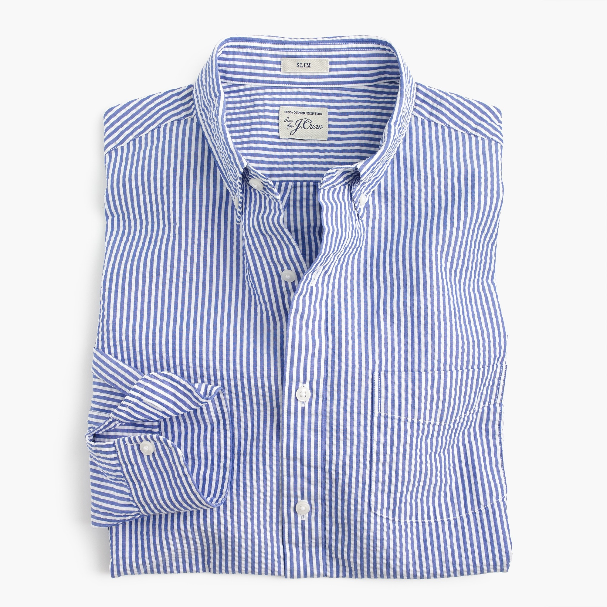 mens Seersucker shirt in classic stripe
