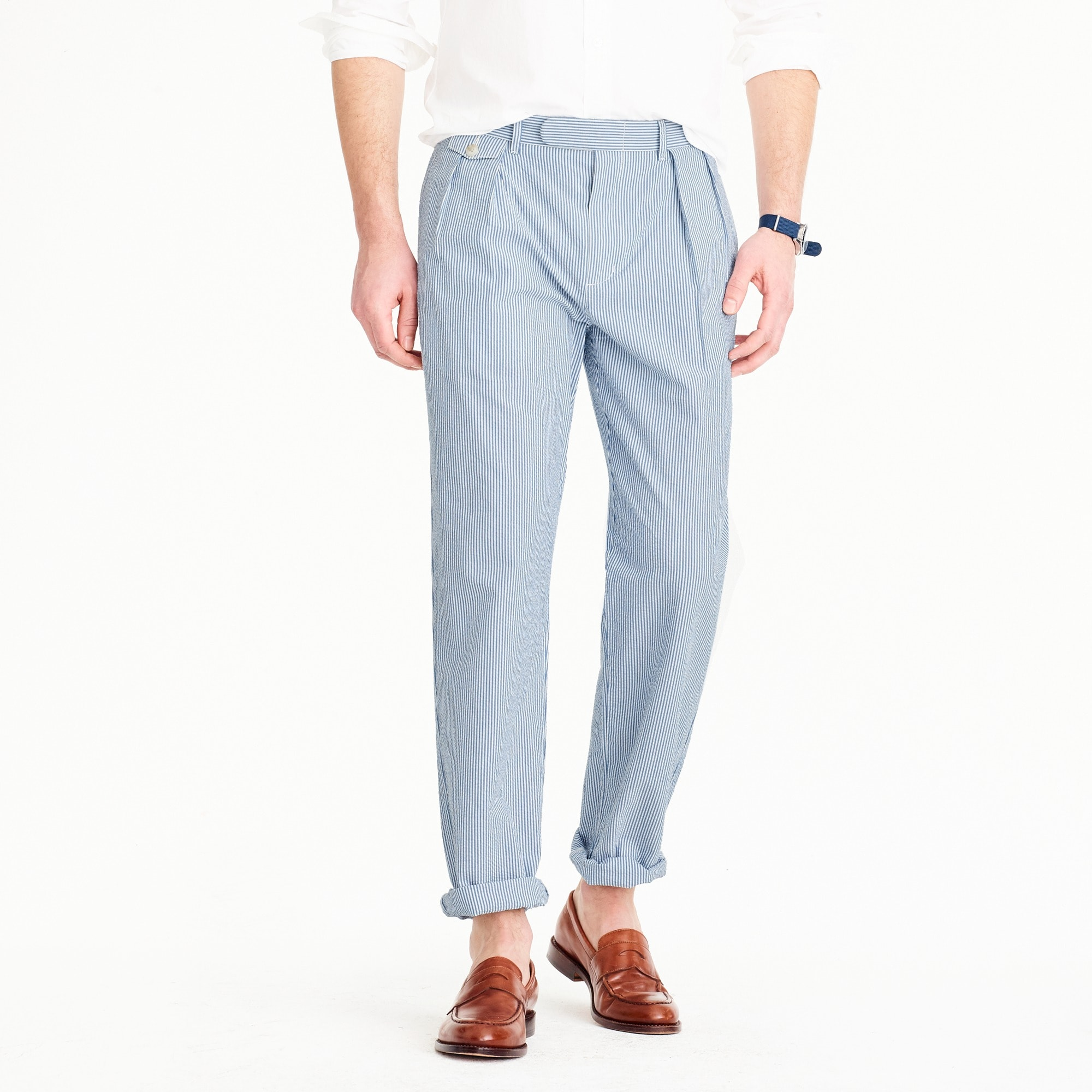 double-pleated seersucker pant : men pleated