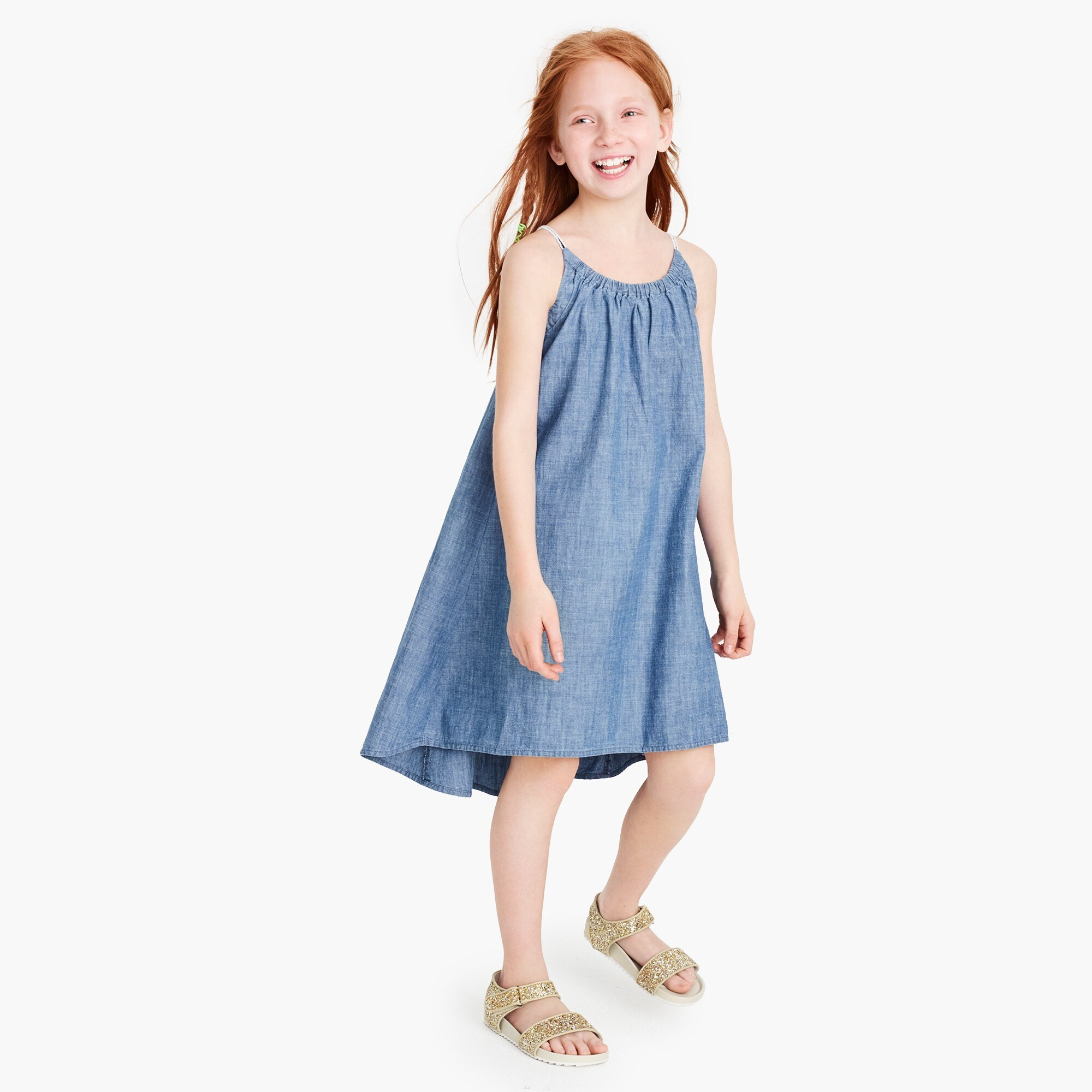 Girls' chambray tank dress