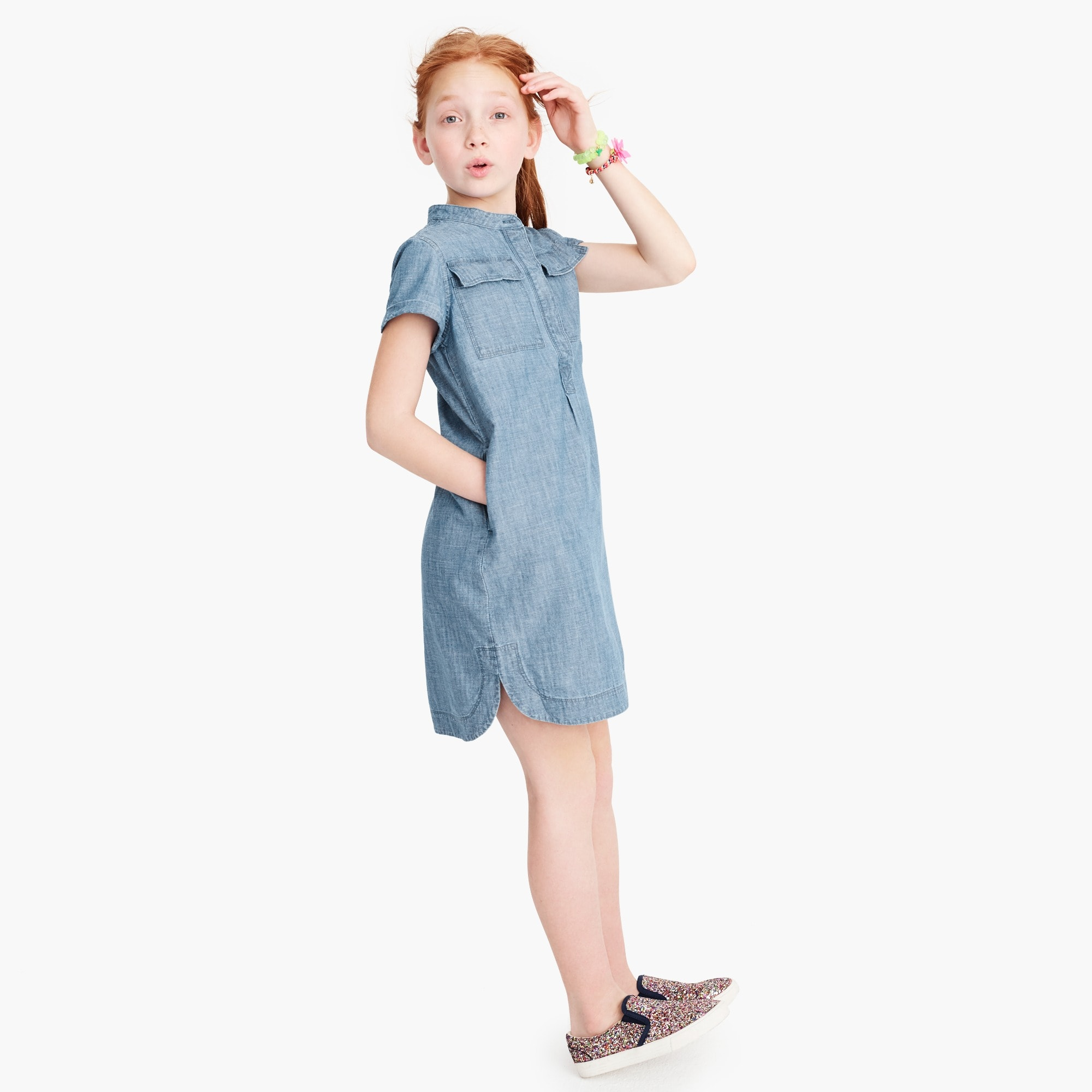 girls' chambray shirtdress : girl dresses