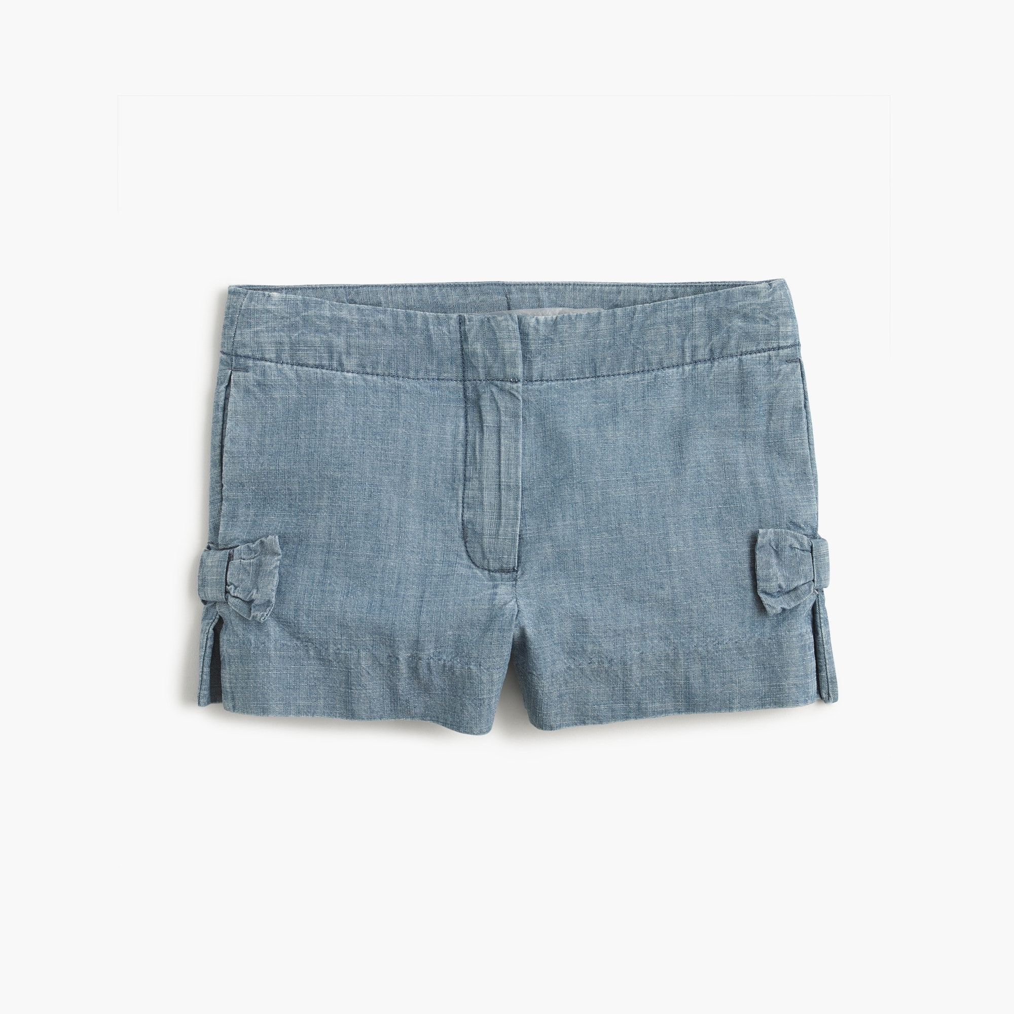 Girls' bow short in chambray