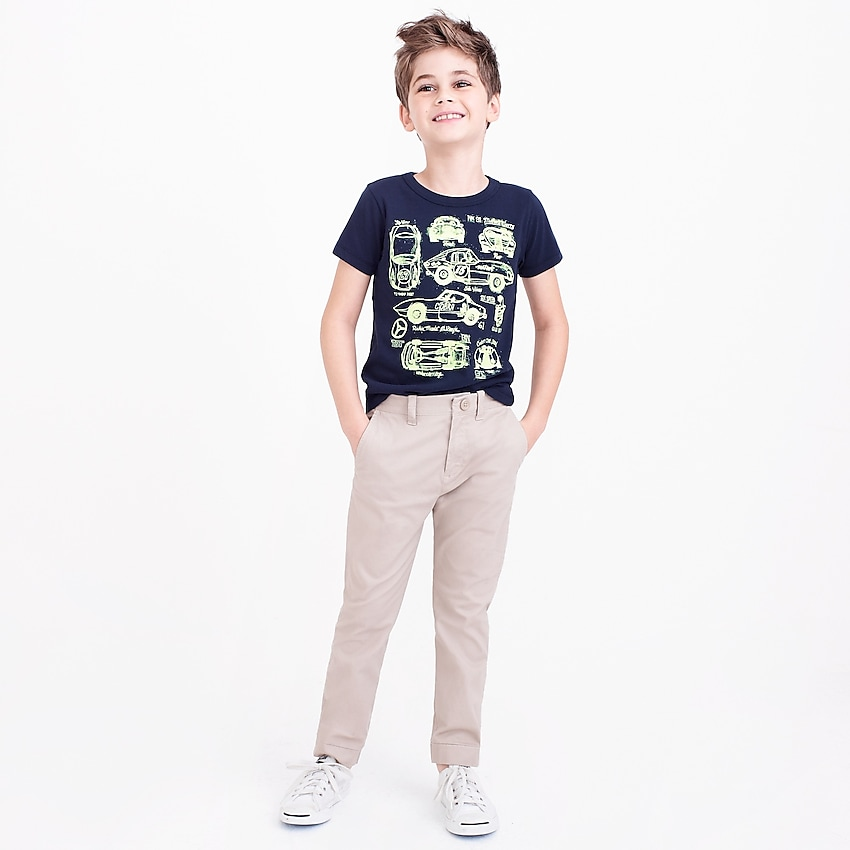 j.crew factory: boys' slim pant in flex chino, right side, view zoomed