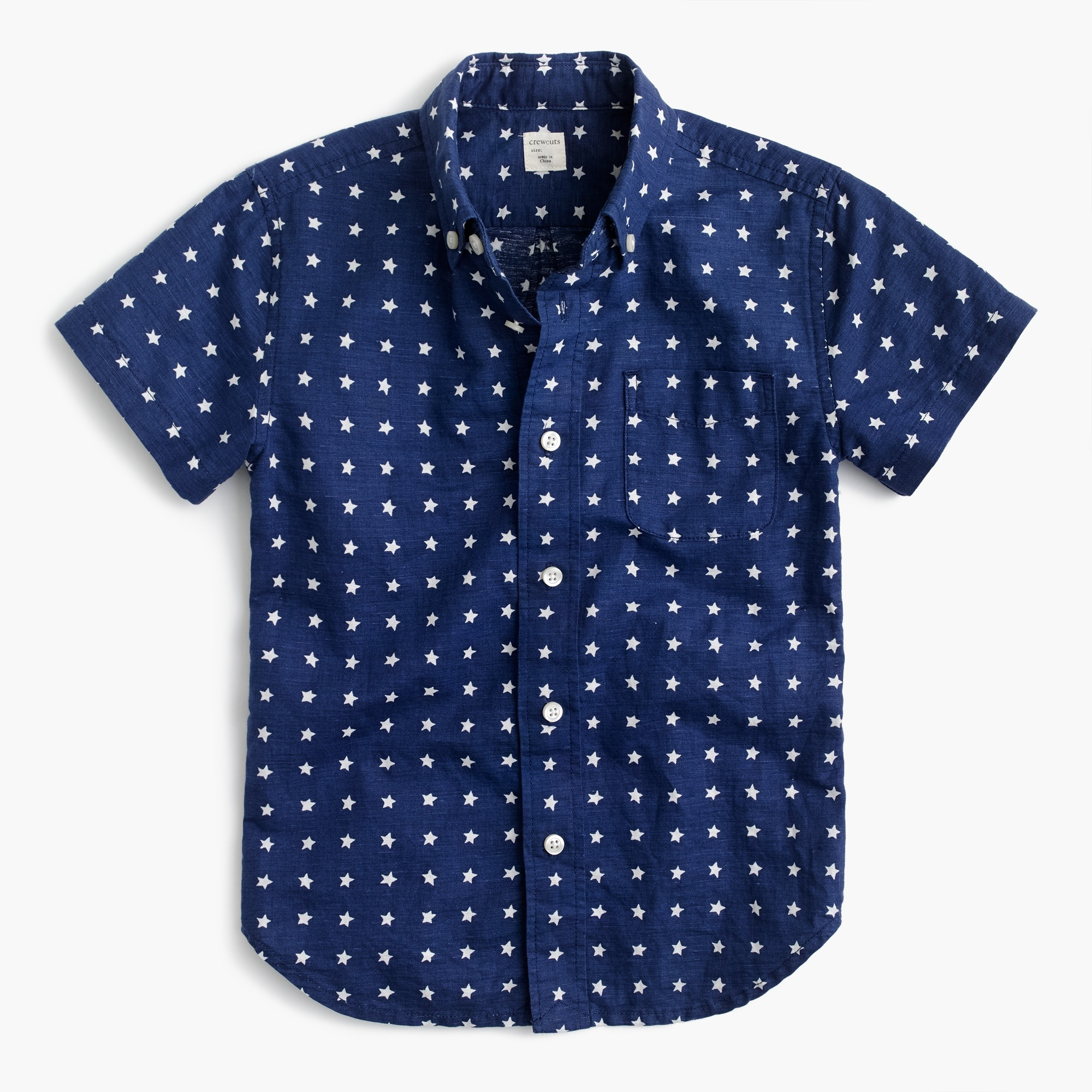Kids' short-sleeve linen-cotton shirt in star print