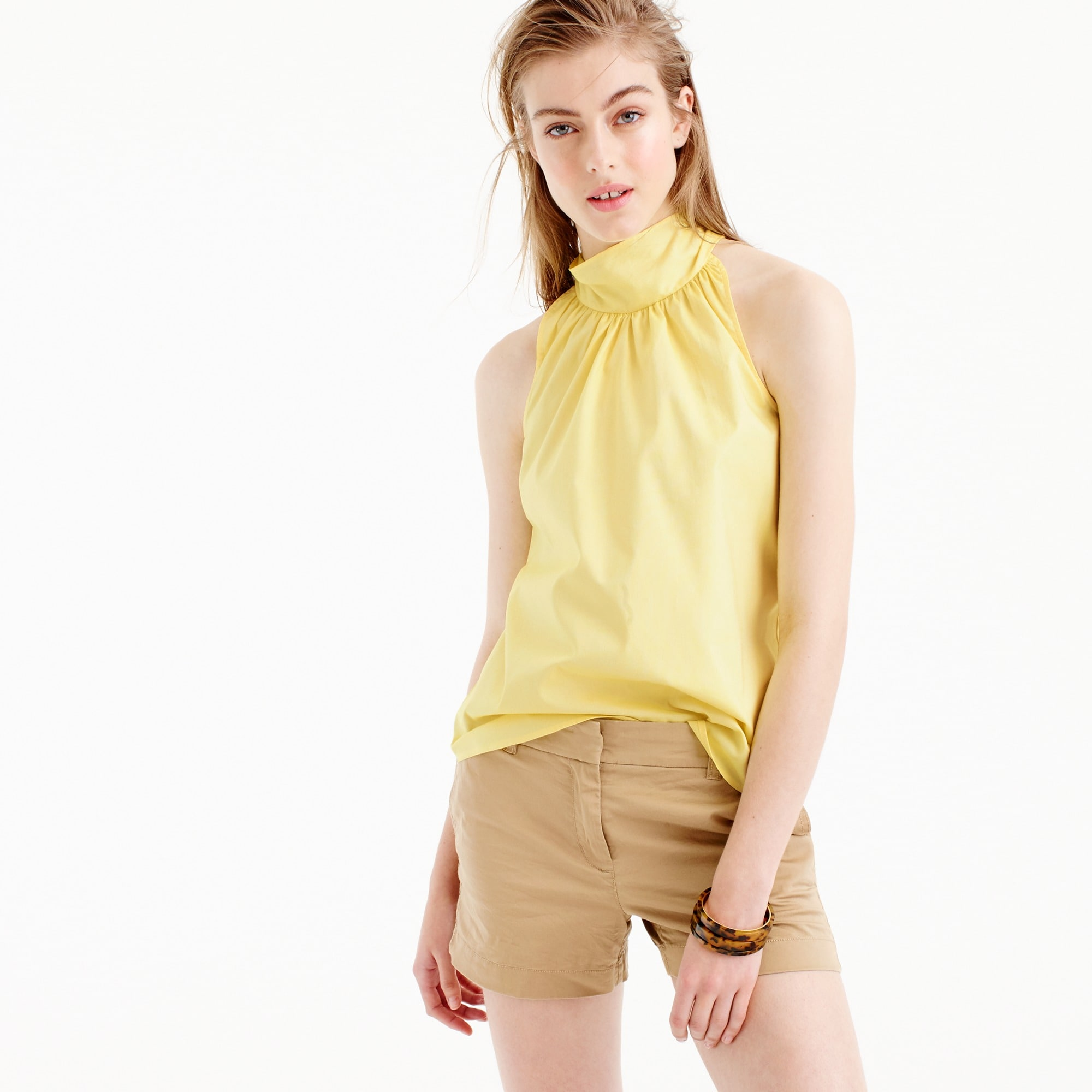 petite tie-neck top in oxford cotton : women shirts & tops