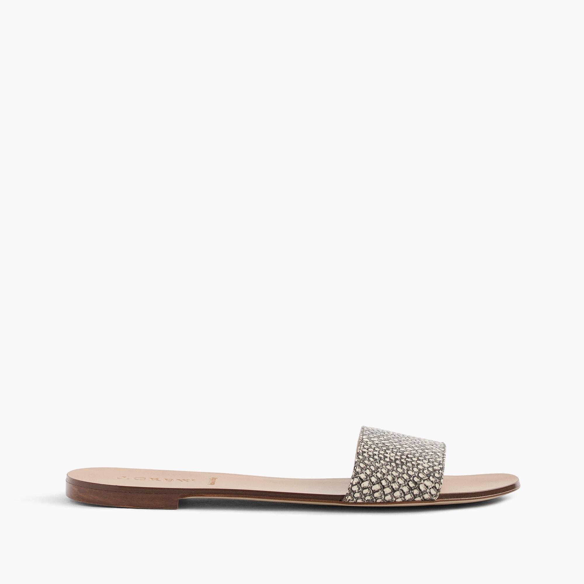 snakeskin-printed leather slides : women sandals