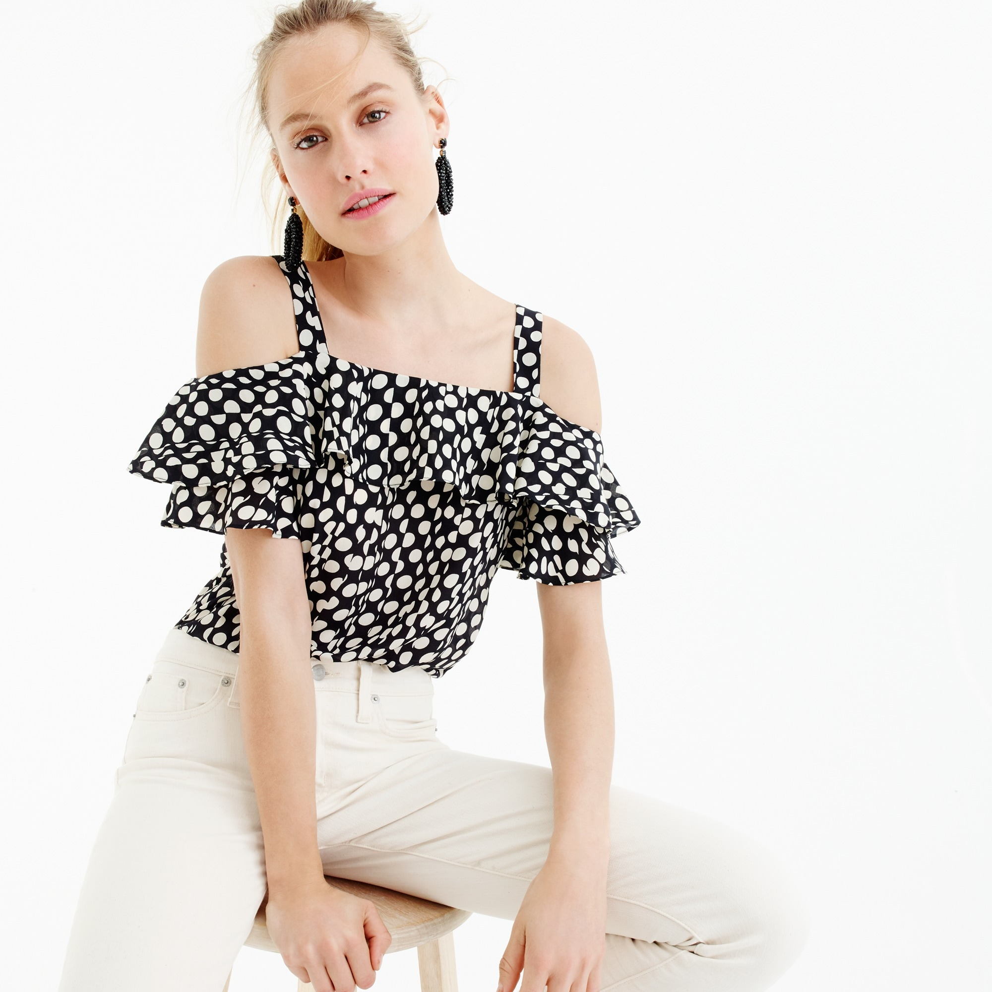Image 1 for Collection silk cold-shoulder top in Ratti® polka dot
