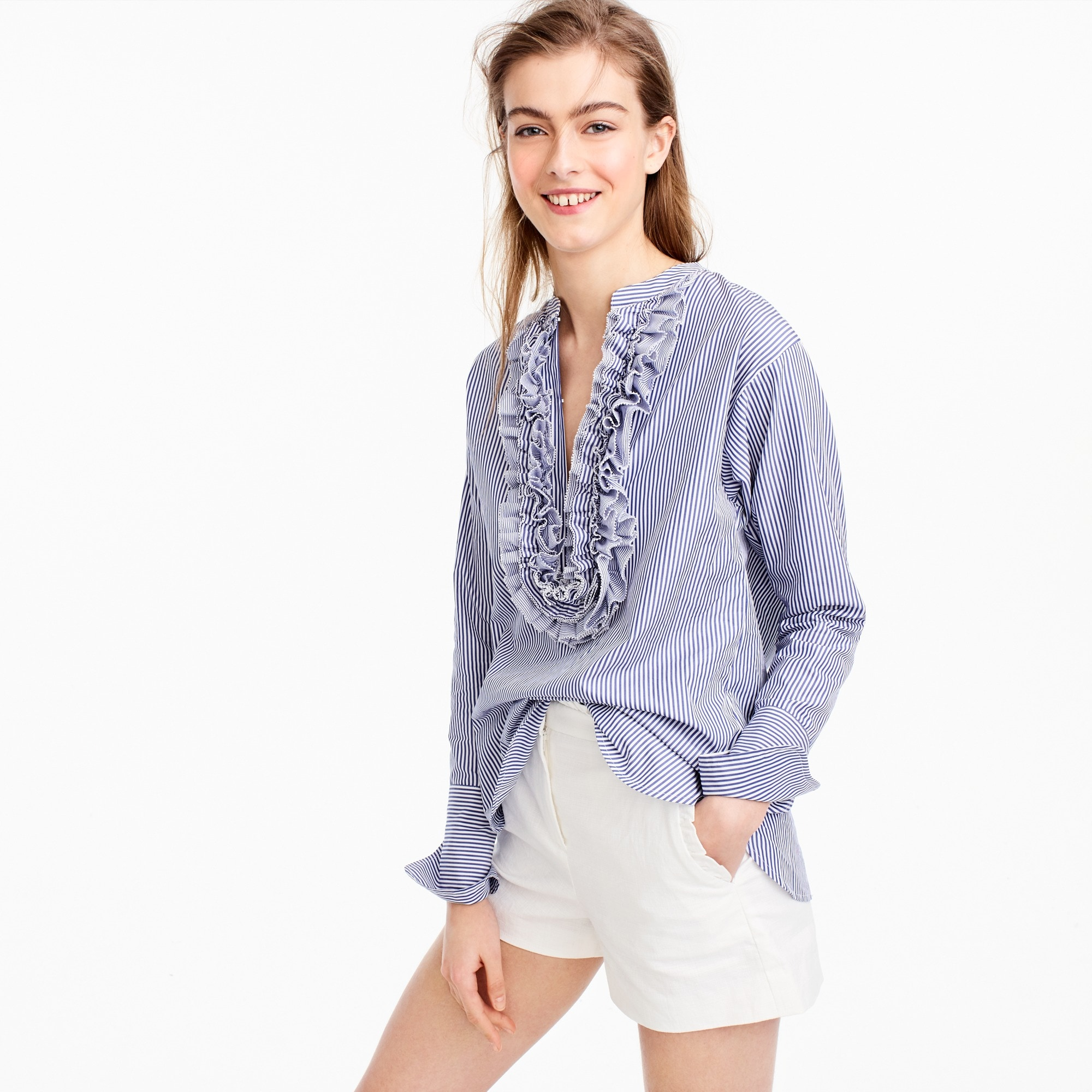 women's collection thomas mason® for j.crew striped ruffled popover