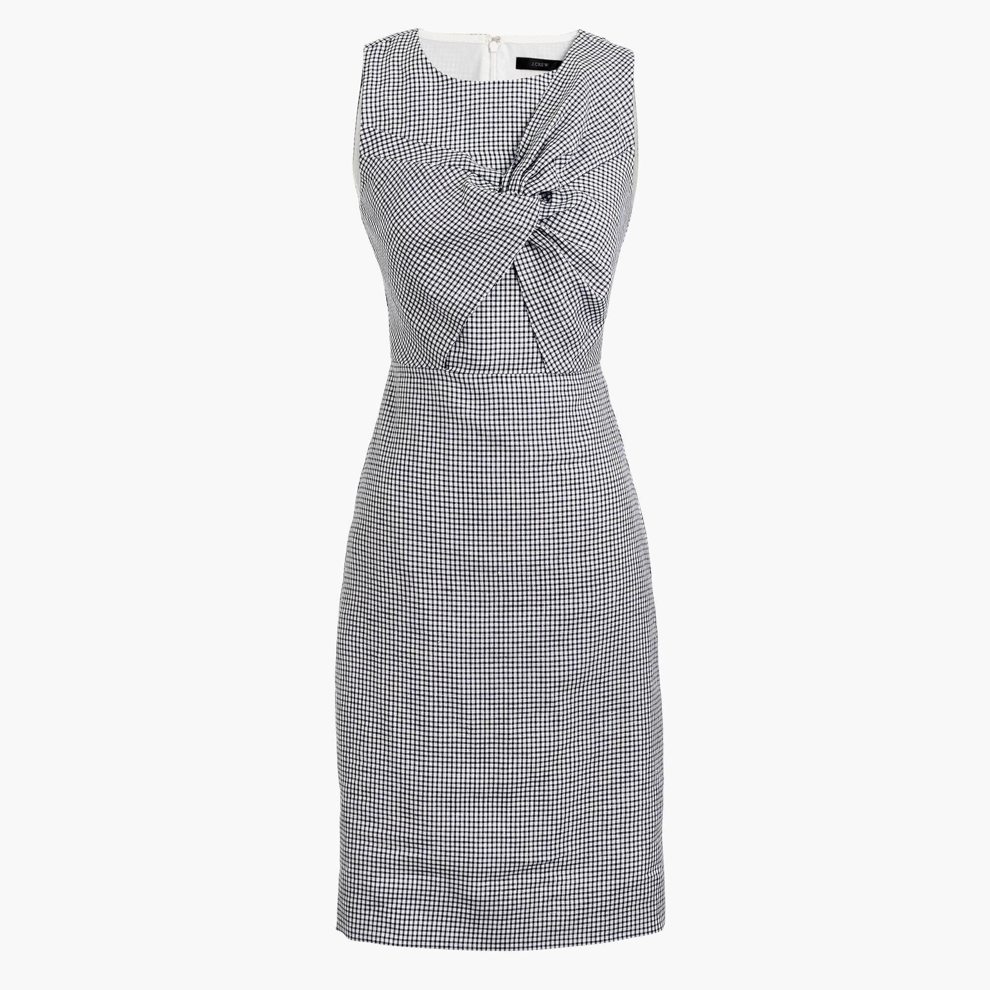 Petite drape knot windowpane dress in Irish linen women petite c