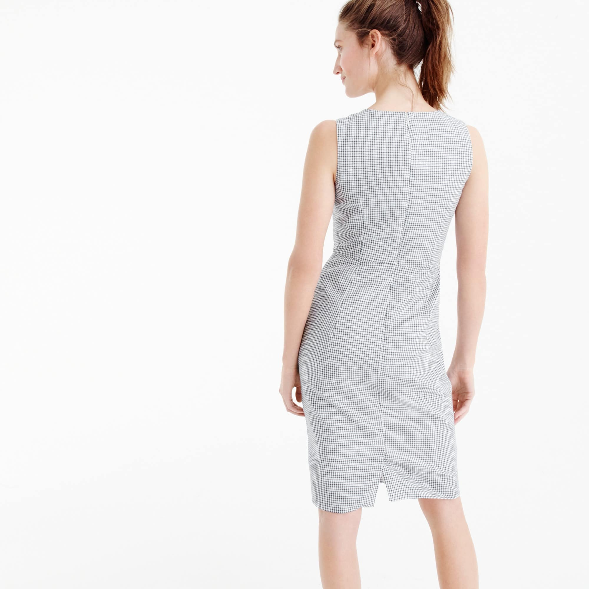 Drape knot windowpane dress in Irish linen