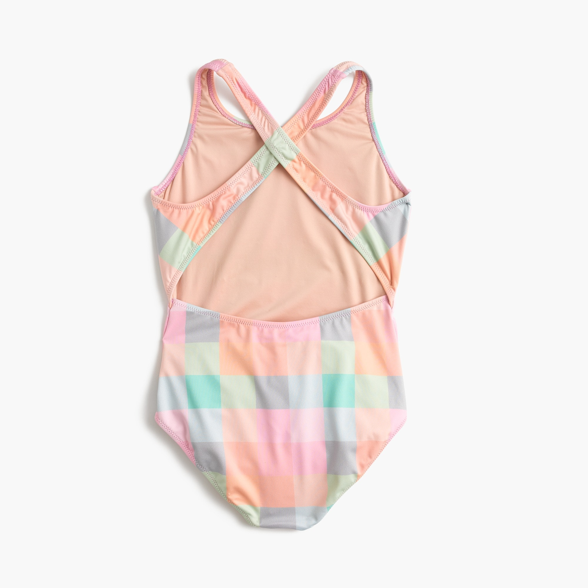 Girls' one-piece swimsuit in oversized rainbow gingham
