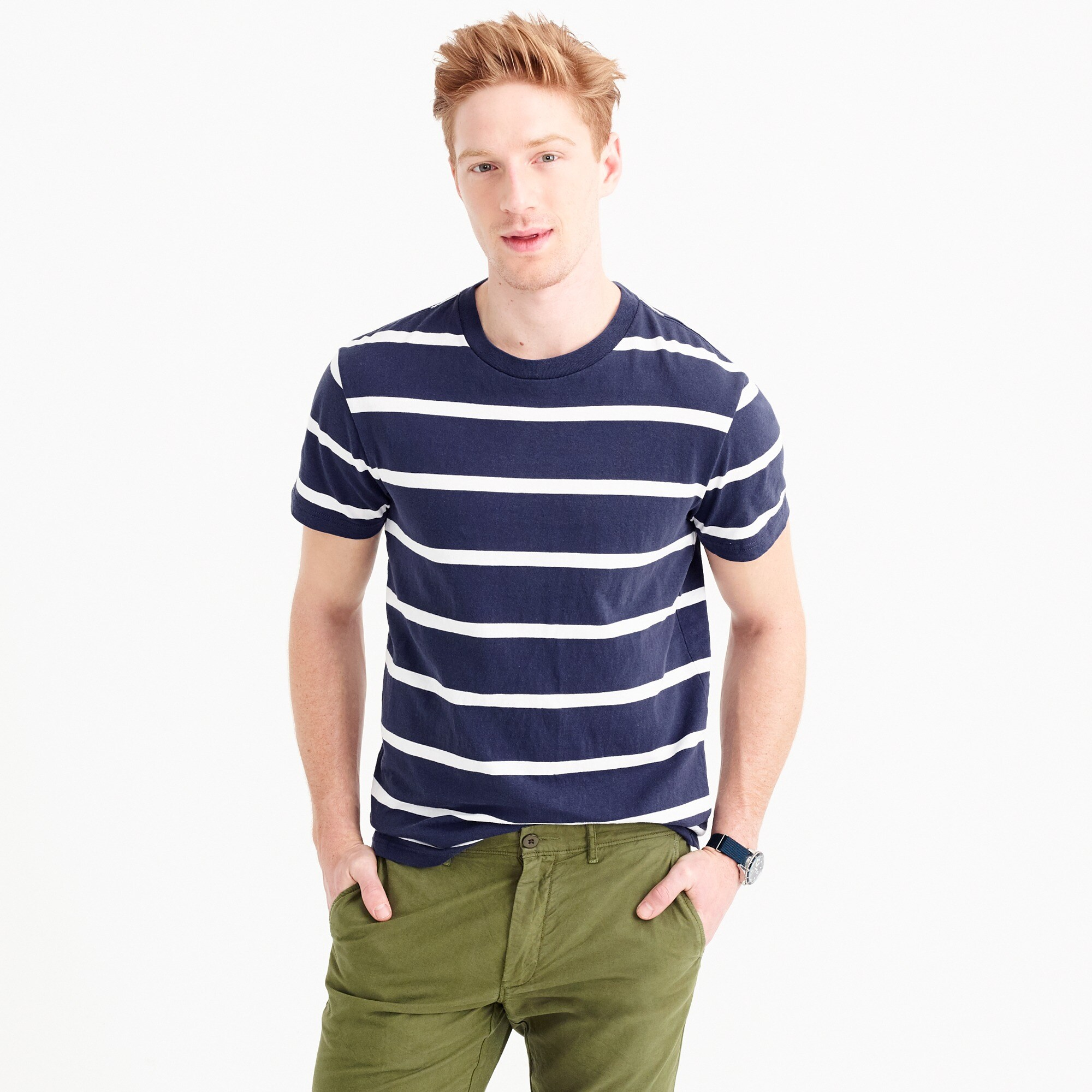 Cotton T-shirt in white stripe