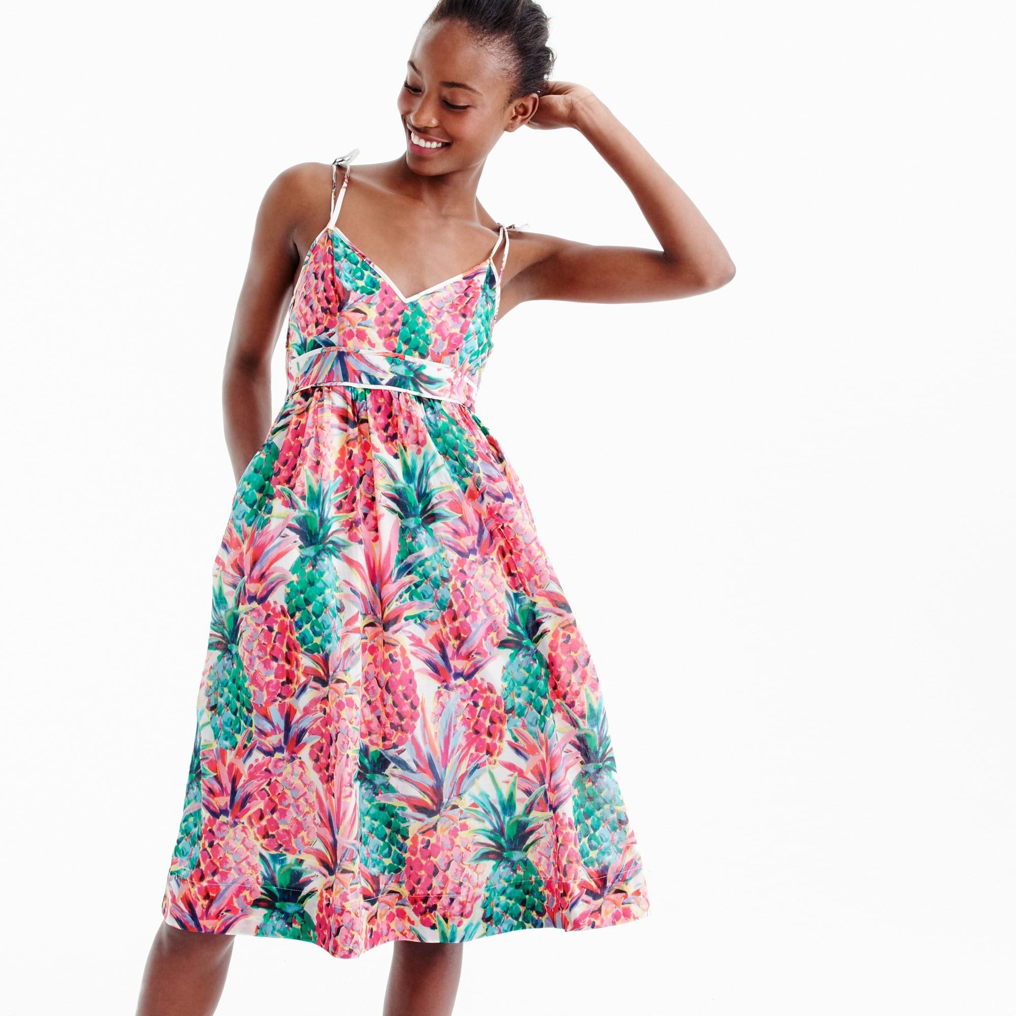Petite spaghetti-strap dress in Ratti® painted pineapple