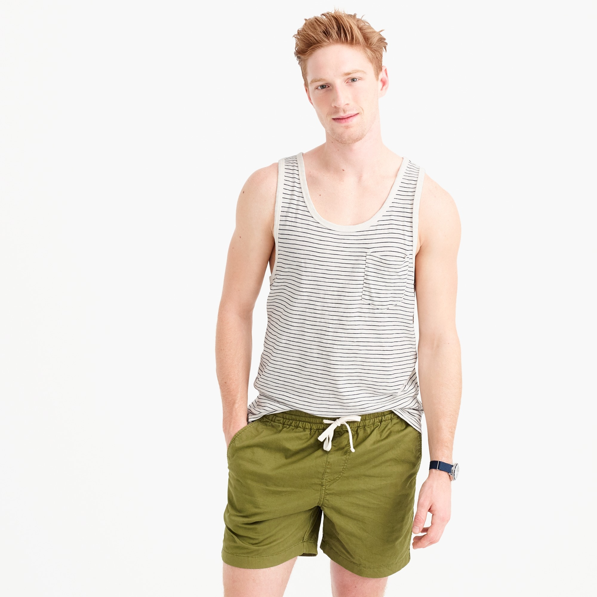 Slub cotton tank top in ivory stripe