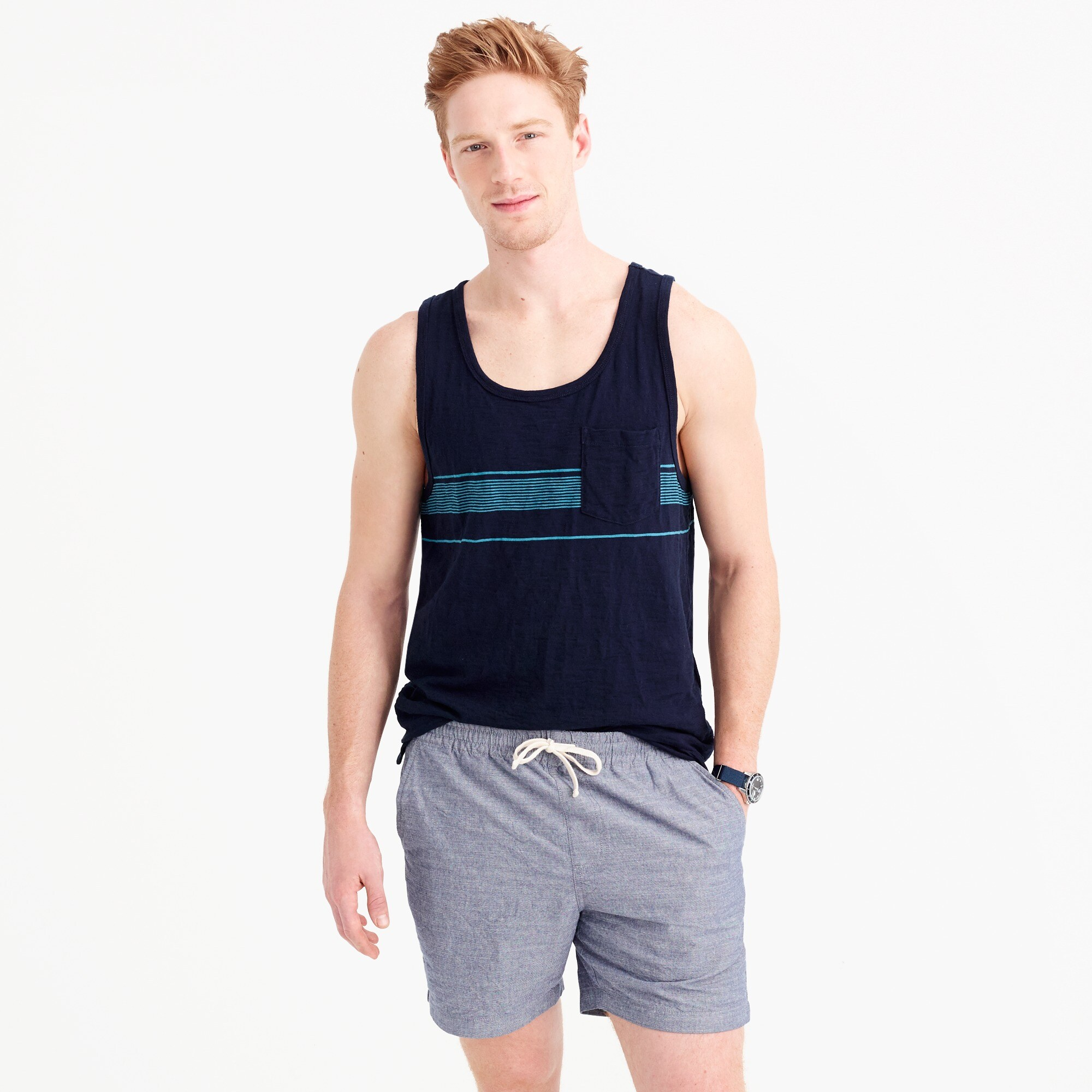 slub cotton tank top in microstripe : men t-shirts & polos