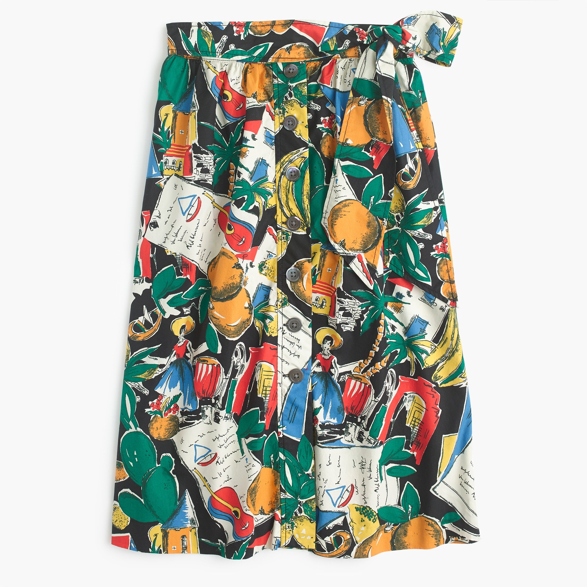 A-line button-up skirt in postcard print