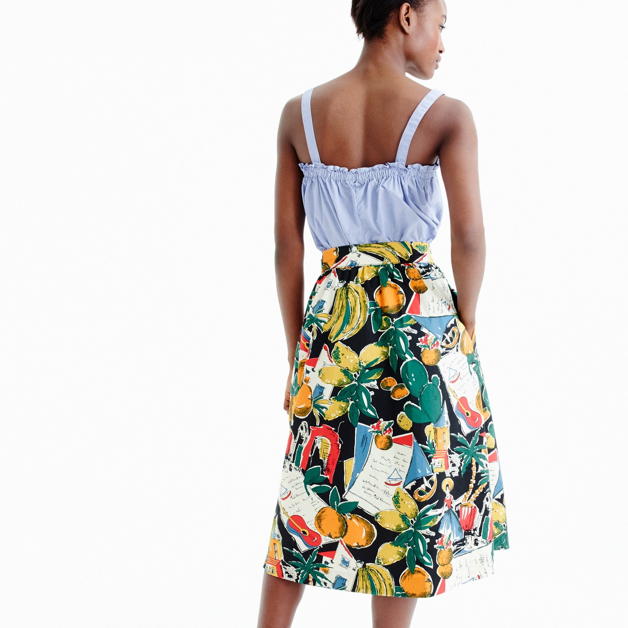 Tall A-line button-up skirt in postcard print