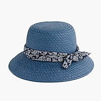 Blue straw hat with bandana