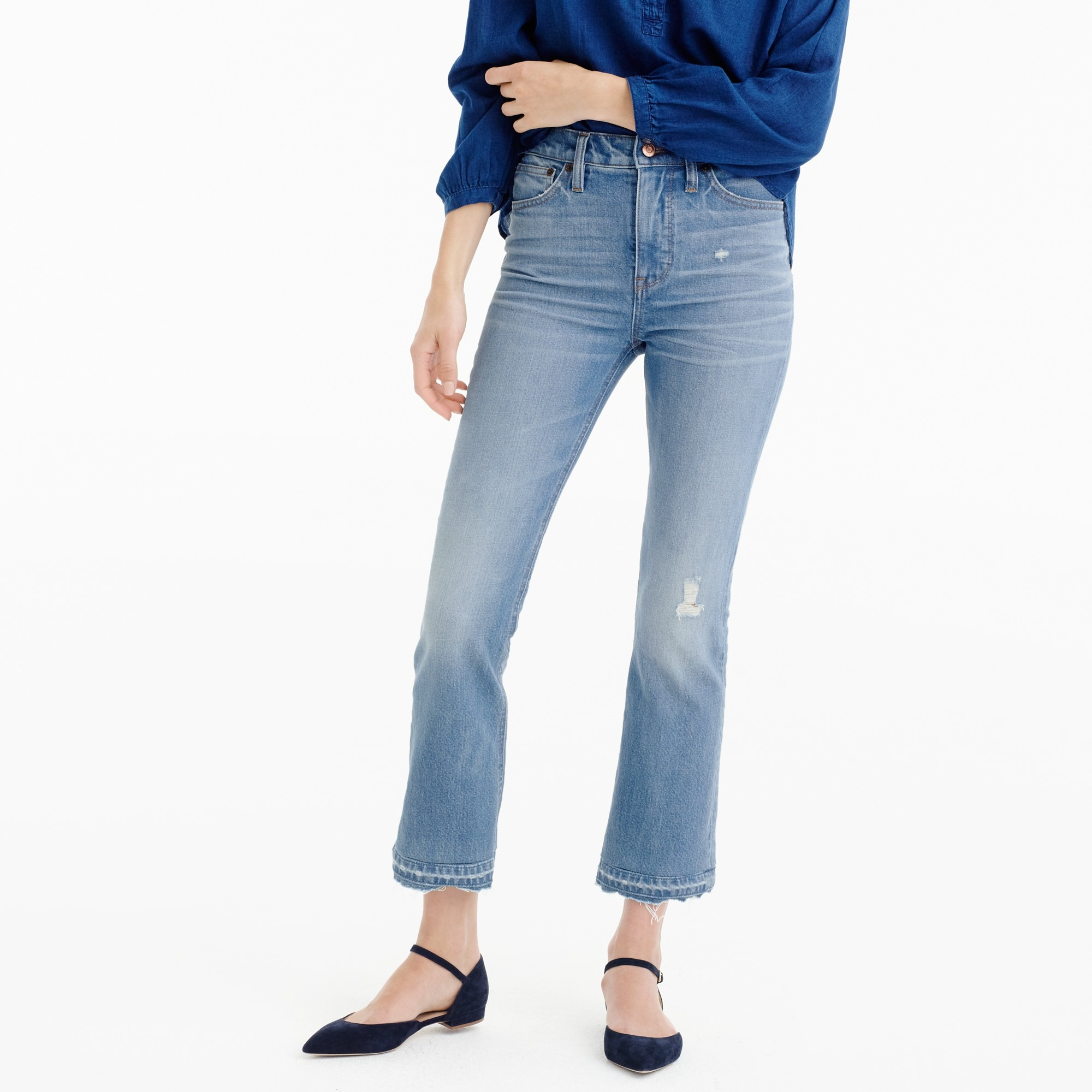 Tall Billie demi-boot crop jean in Sherman wash