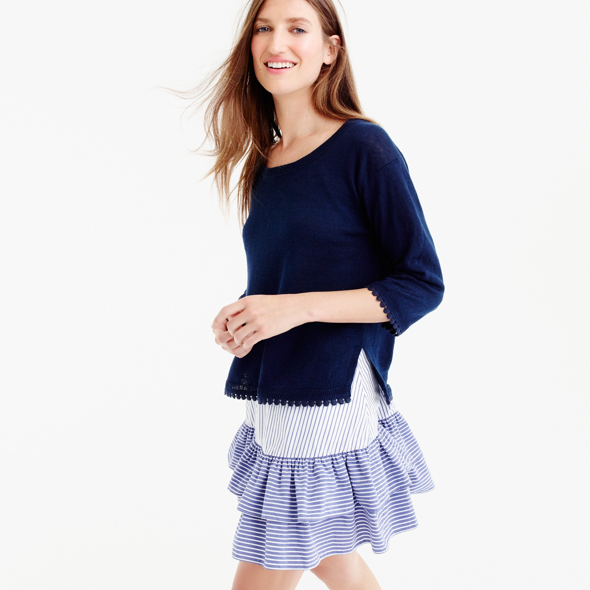 Linen sweater with pom-pom trim