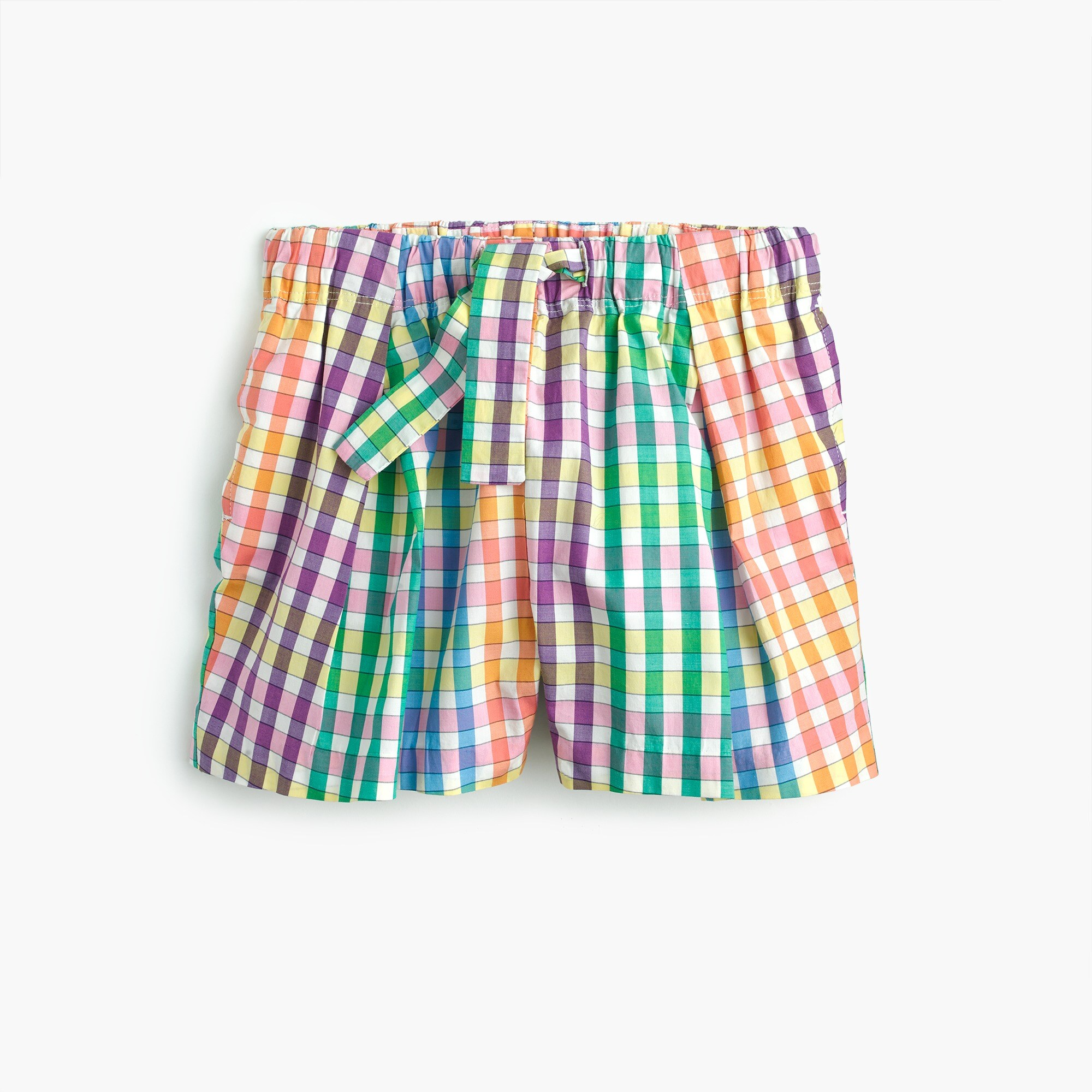 girls' tie-waist pull-on short in rainbow check : girl shorts