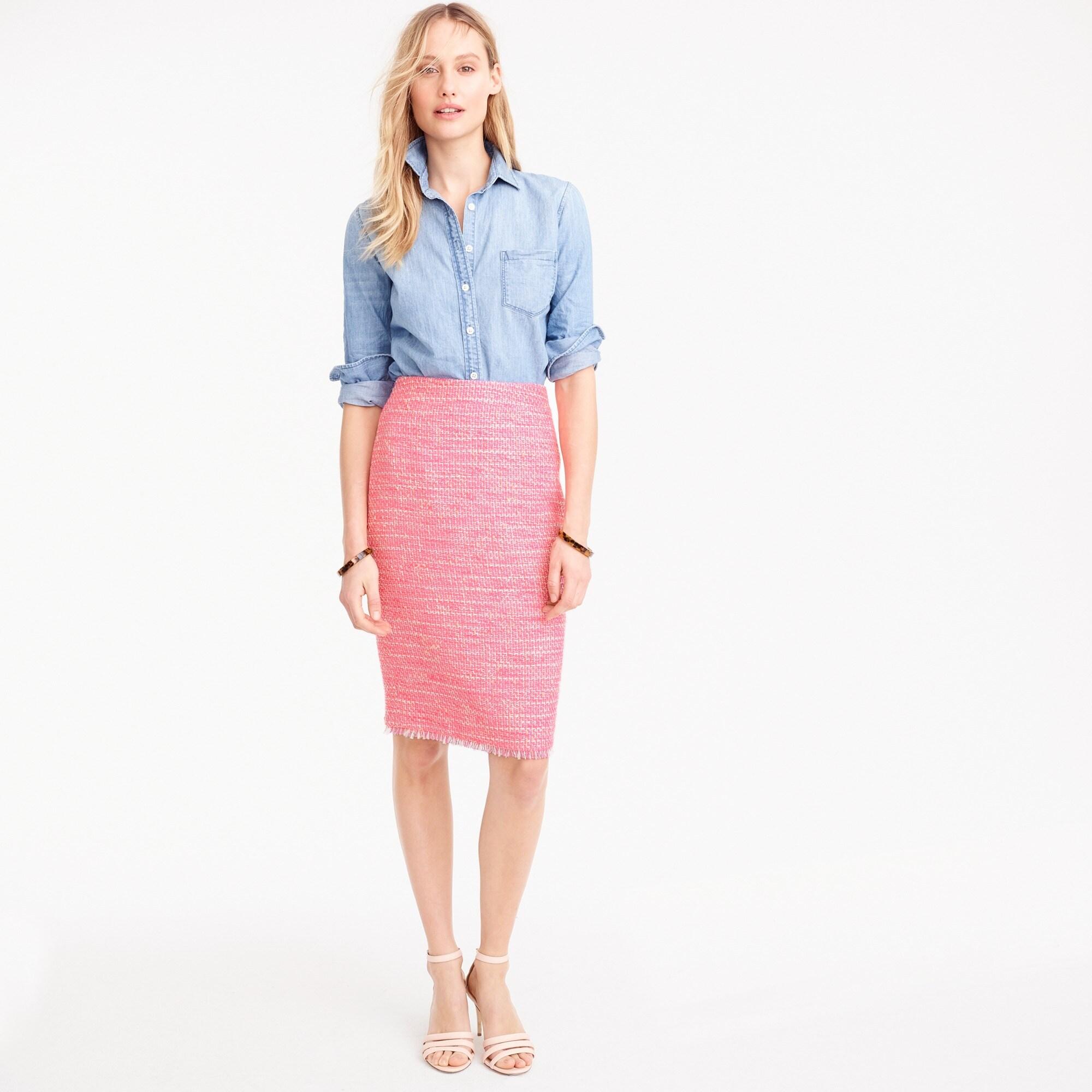 pencil skirt in neon fuchsia tweed : women skirts
