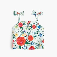 Girls' bow-strap tank top in secret garden print