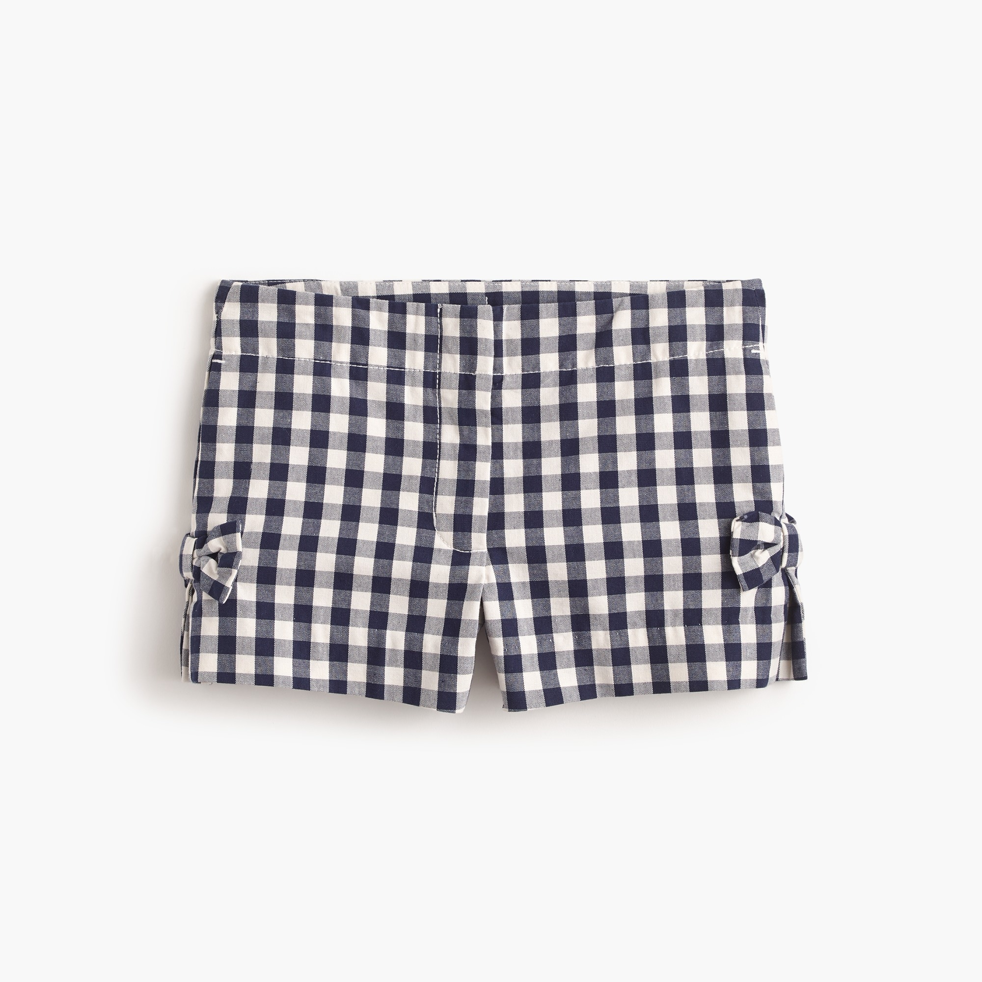 Girls' bow short in gingham