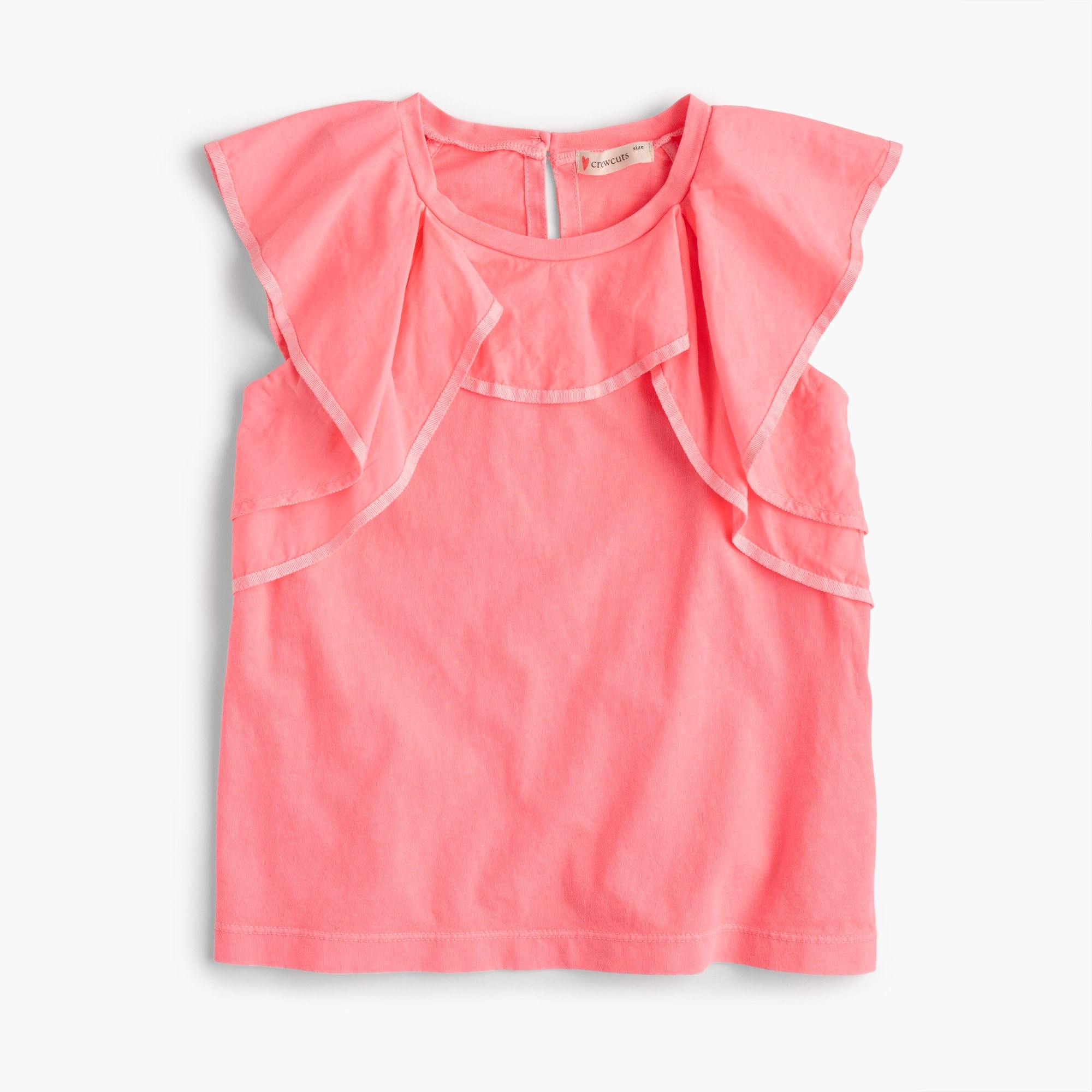 girls' contrast ruffle top : girl tanks