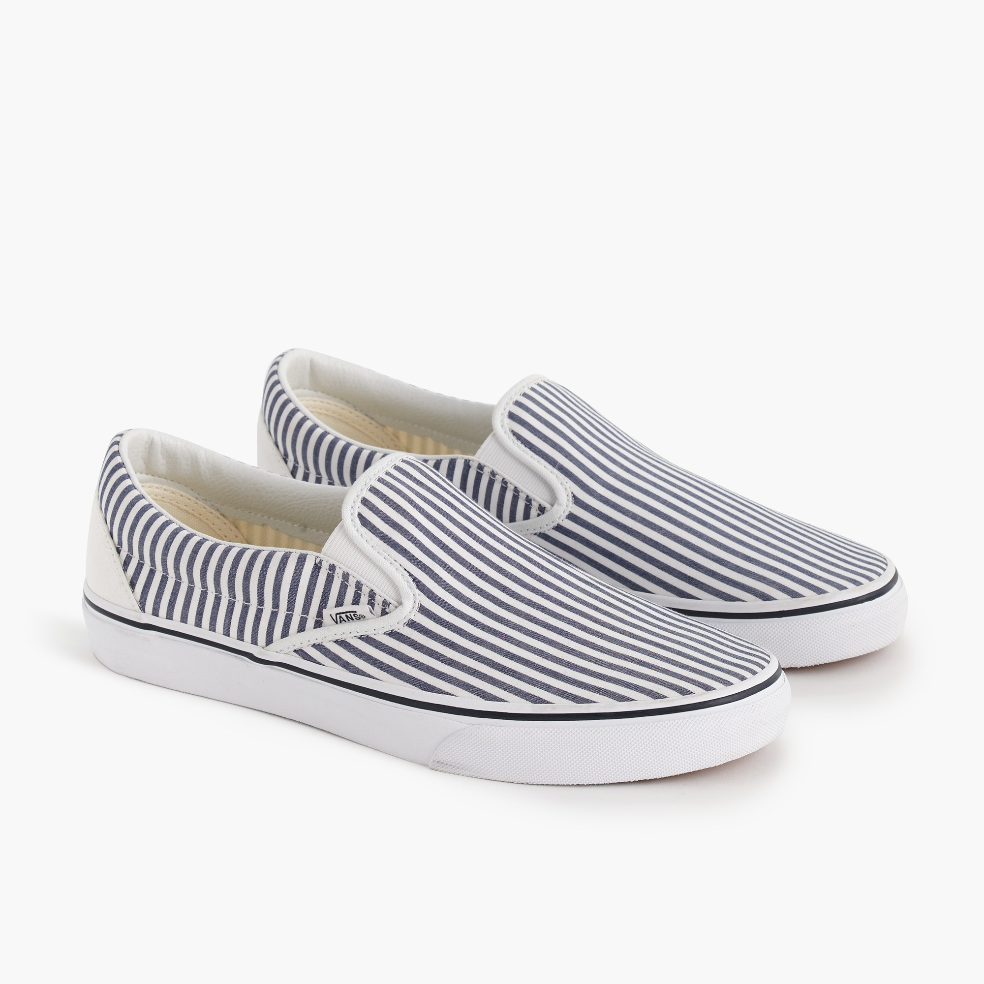 men's vans® for j.crew slip-on sneakers in seersucker stripe