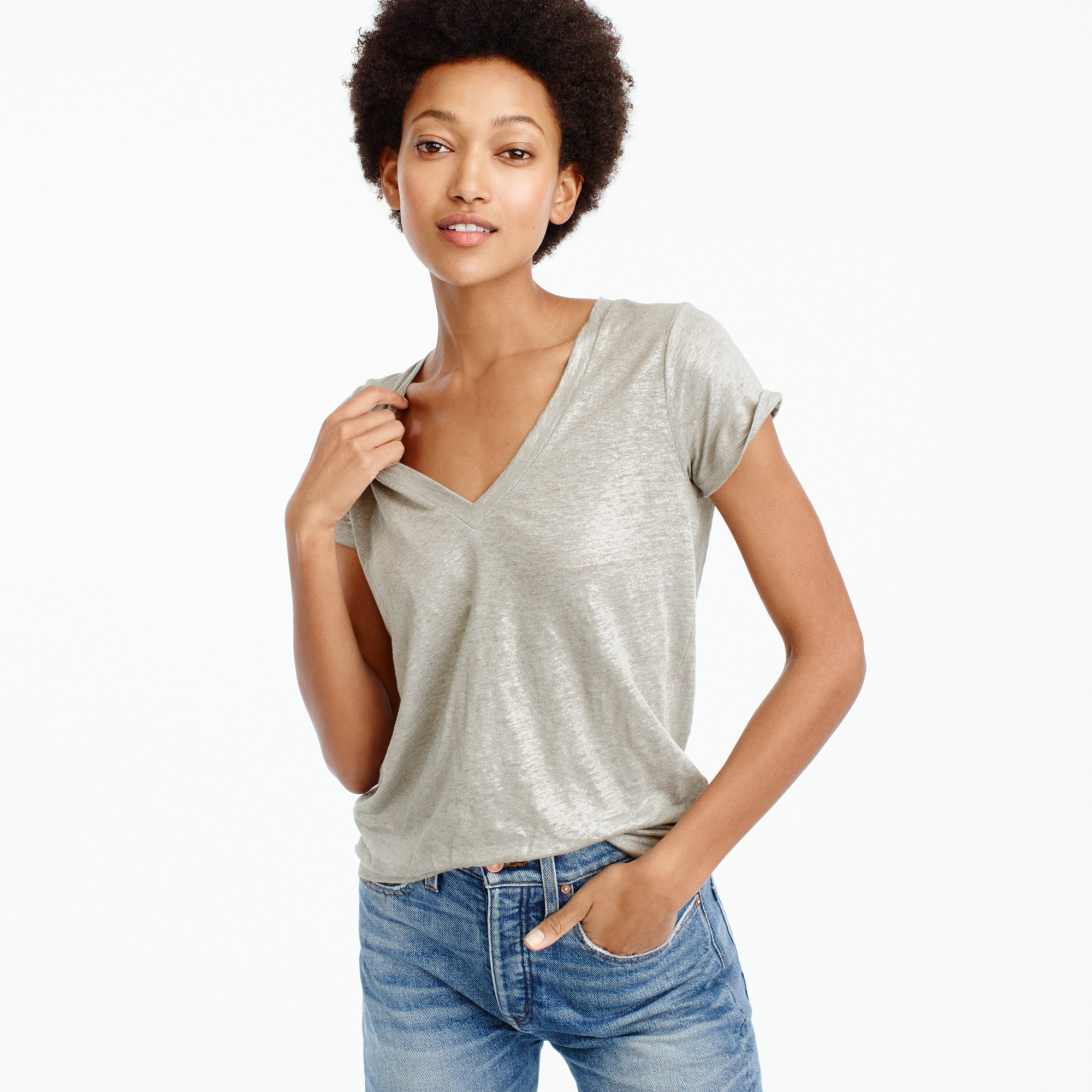 New linen T-shirt in metallic