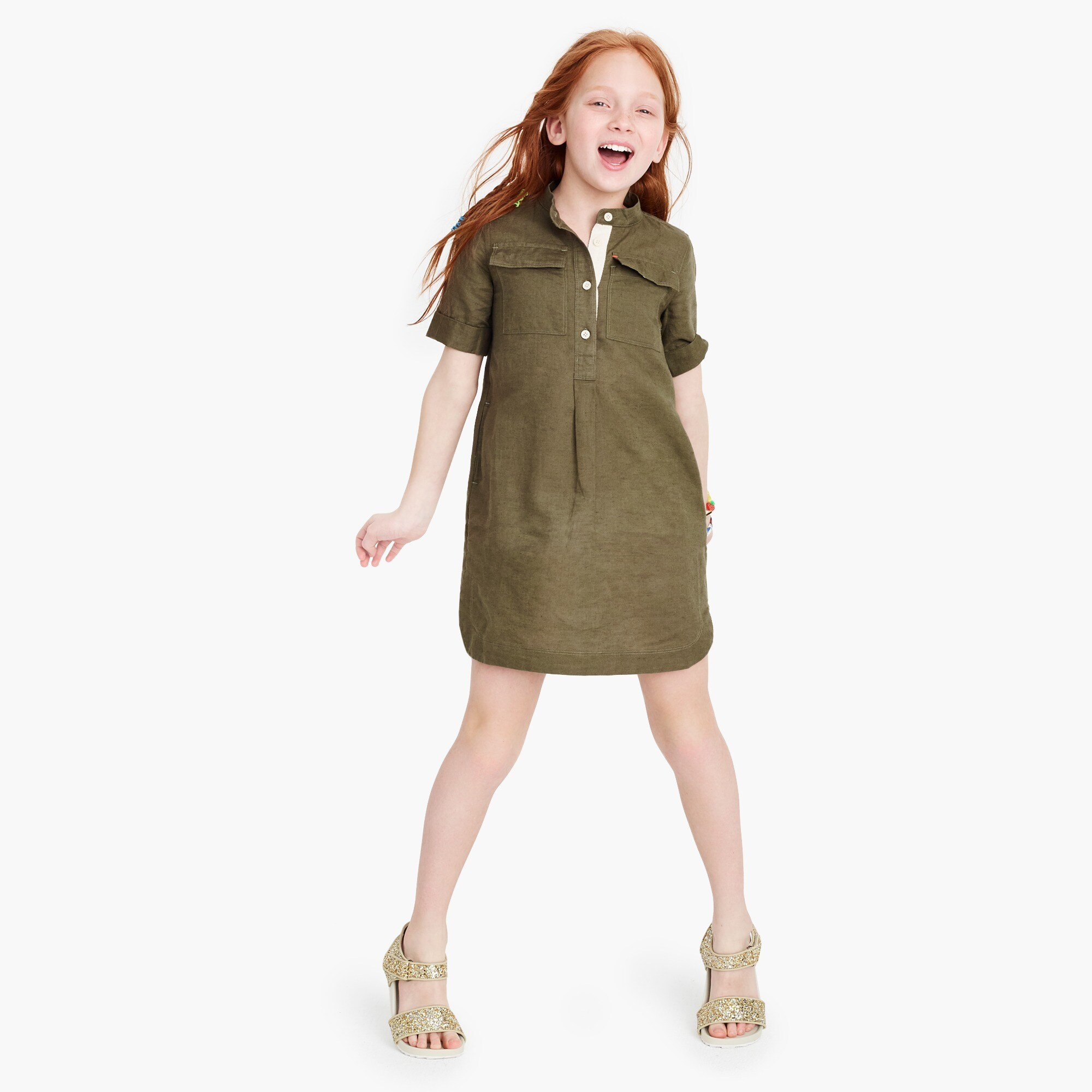 Girls' cotton-linen shirt dress