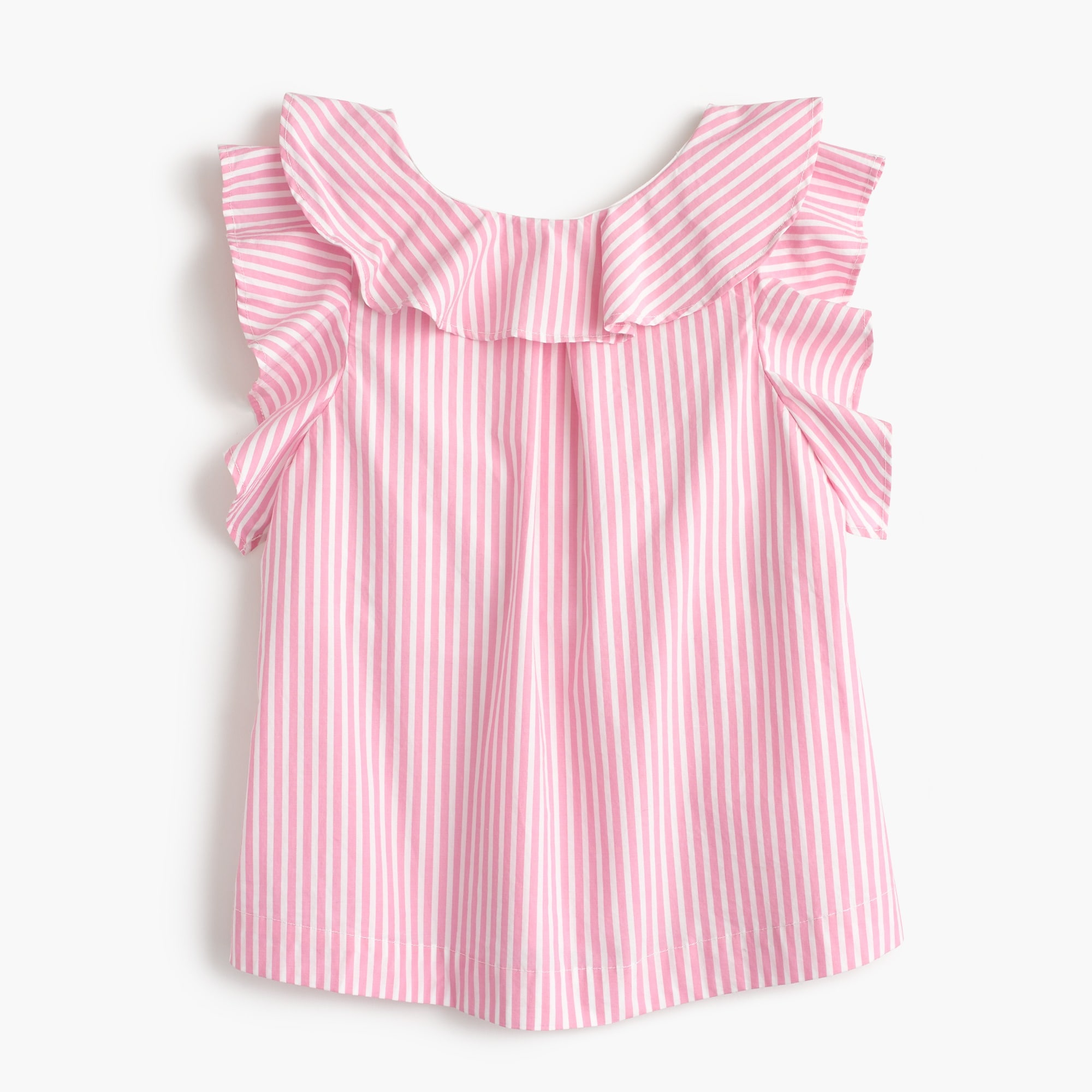 girls' ruffle top in pink stripe : girls' sleeveless shirts