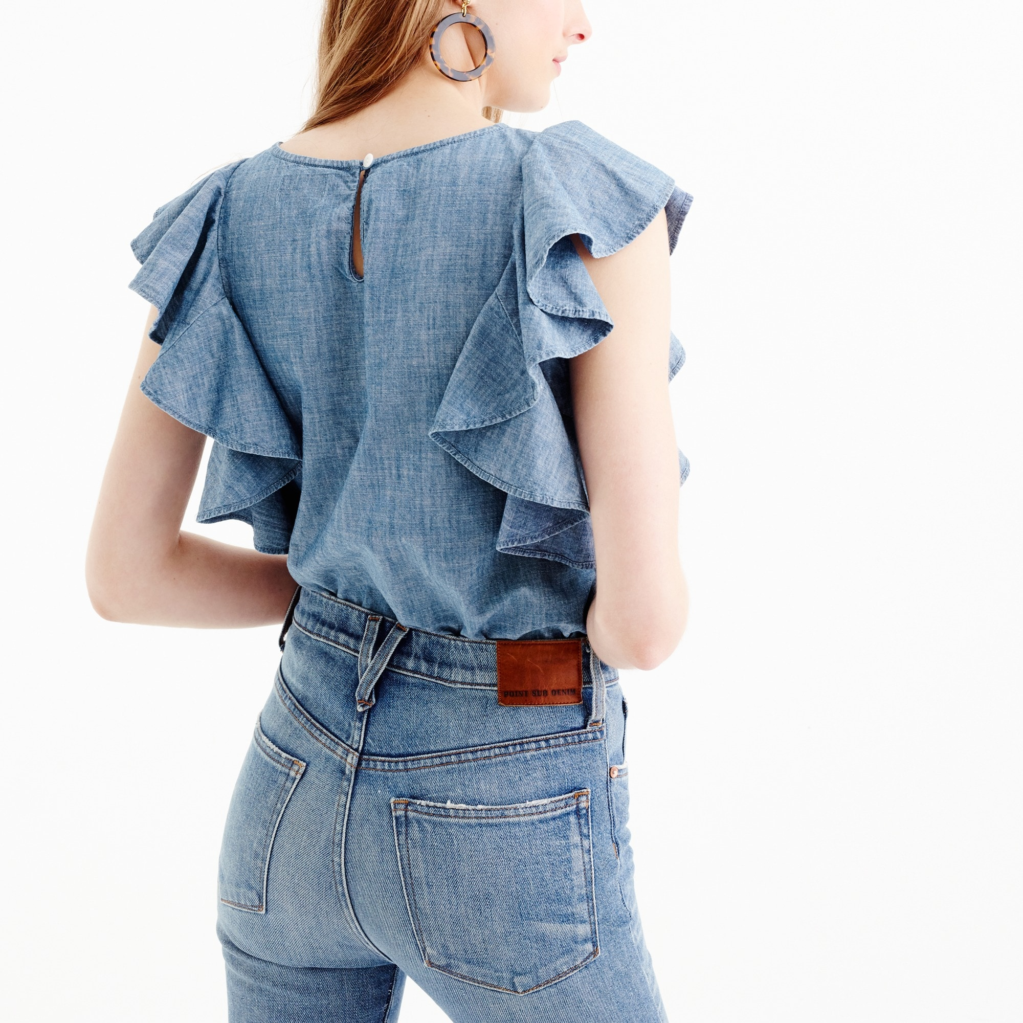 Tall ruffle top in chambray