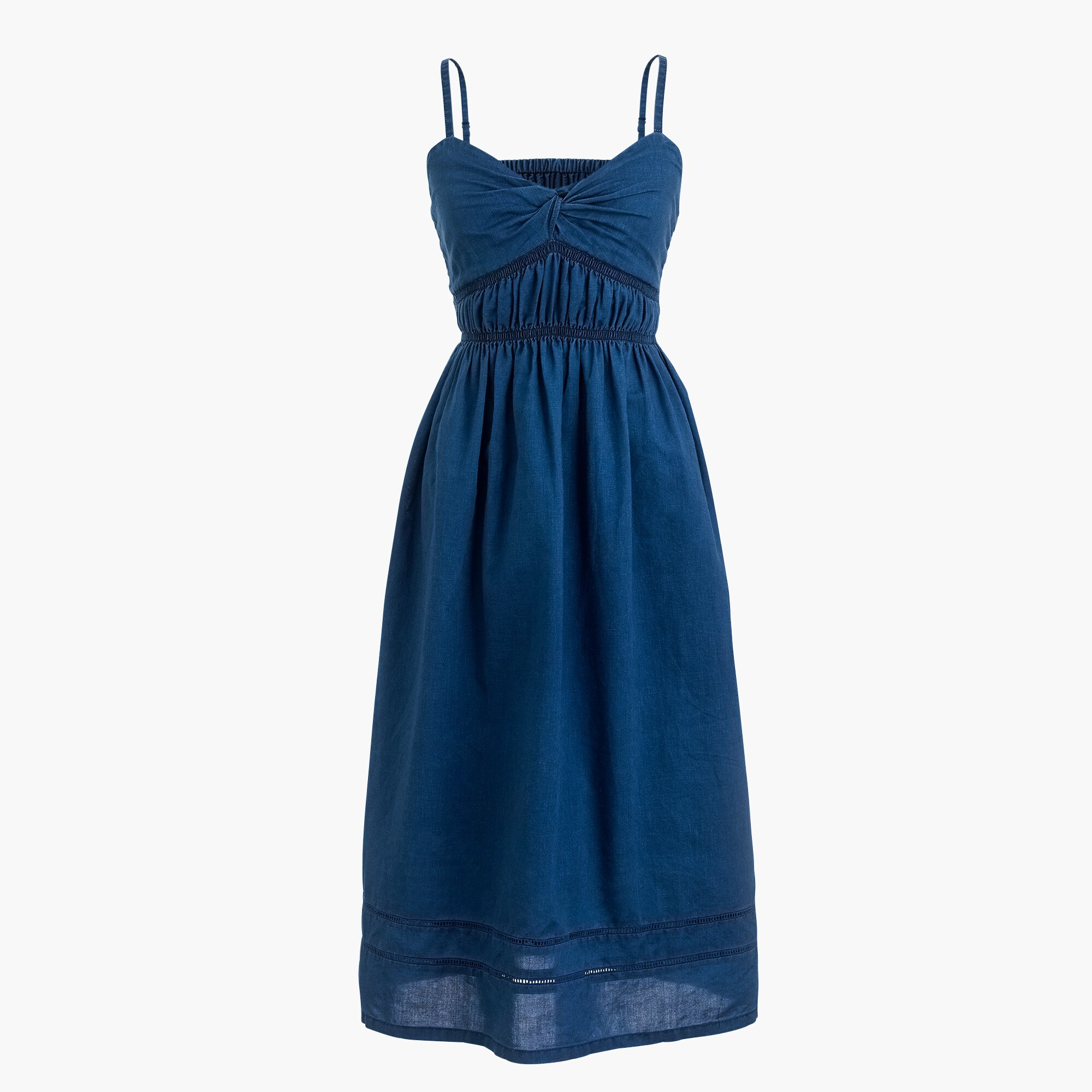 Smocked twist-front dress in indigo