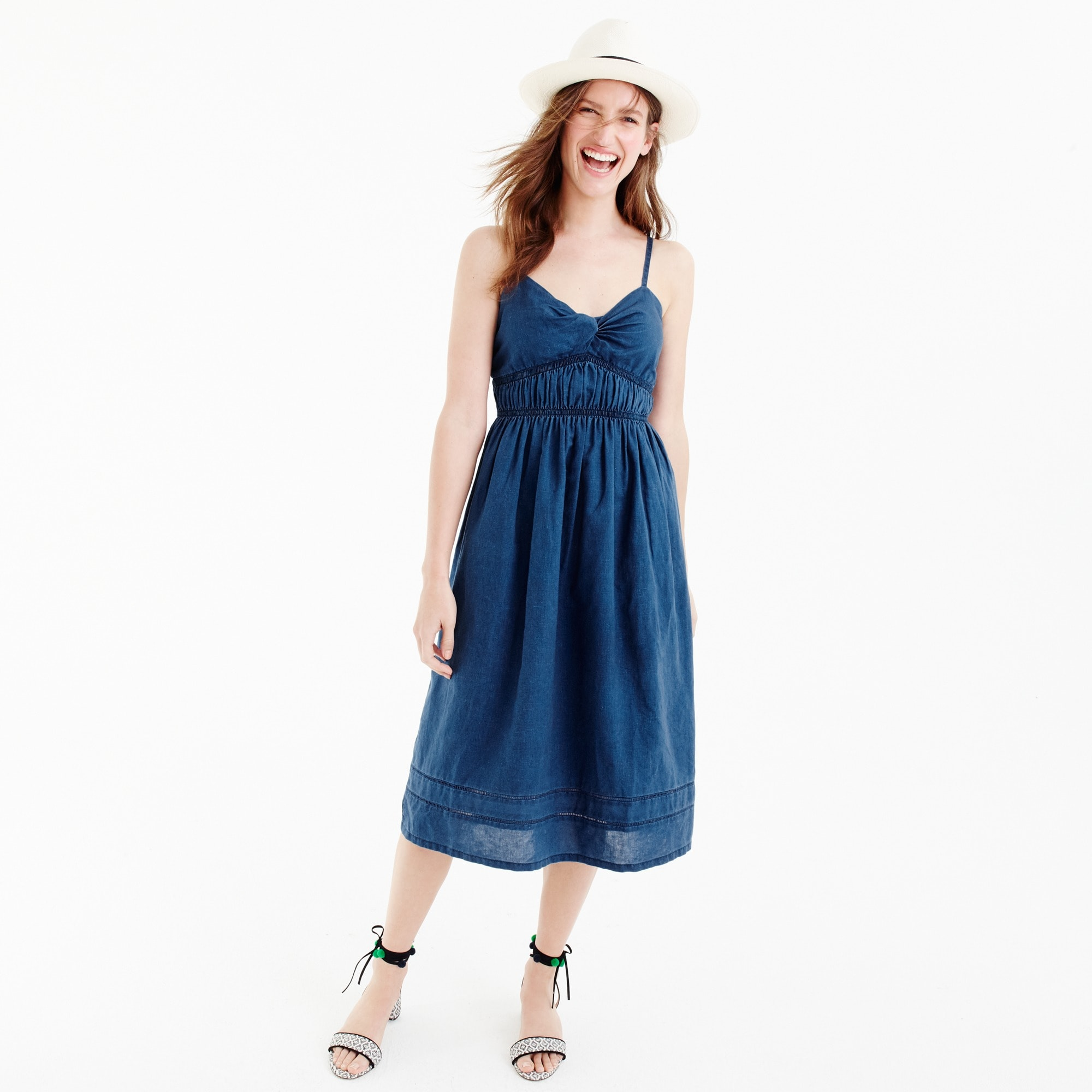 smocked twist-front dress in indigo : women no-brainers