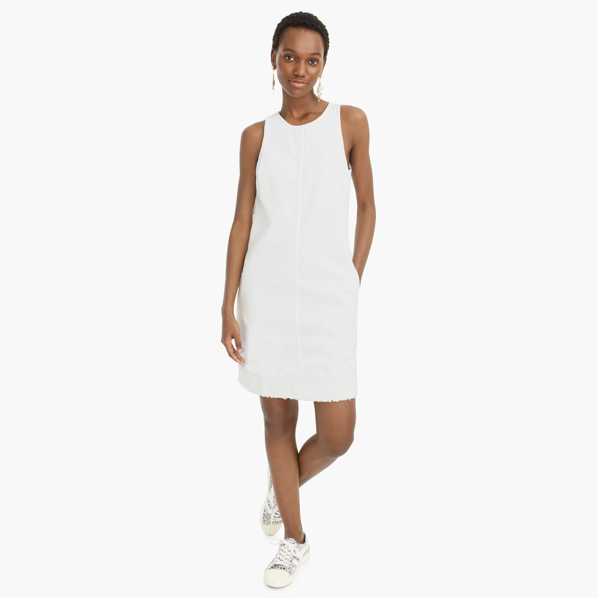 White denim shift dress women dresses c