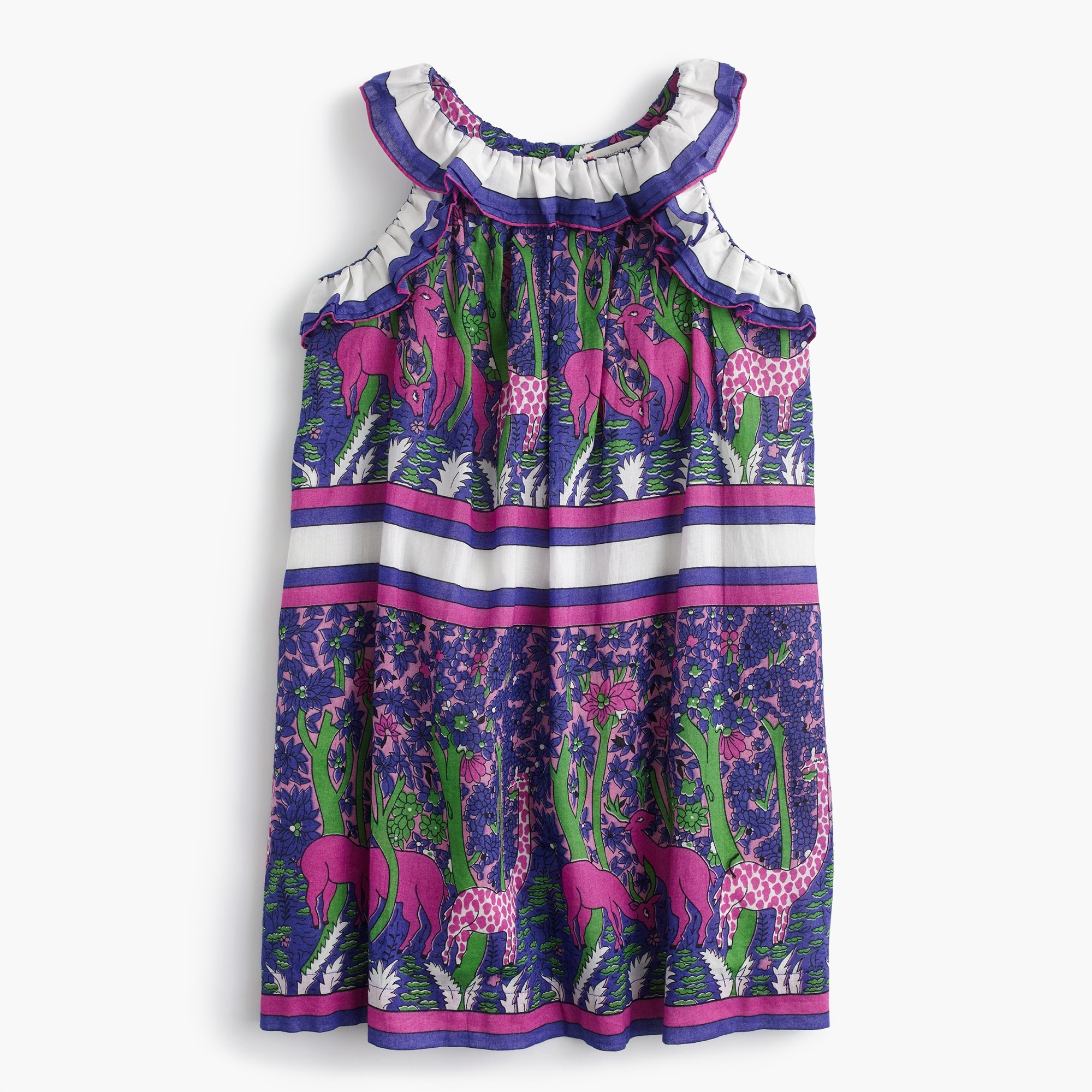 Girls' ruffly dress in menagerie print