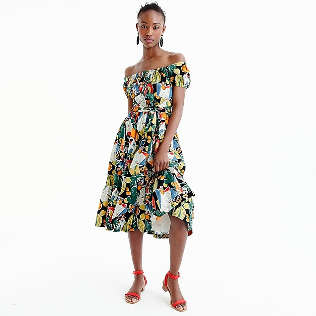 Petite off-the-shoulder ruffle-hem dress in postcard print