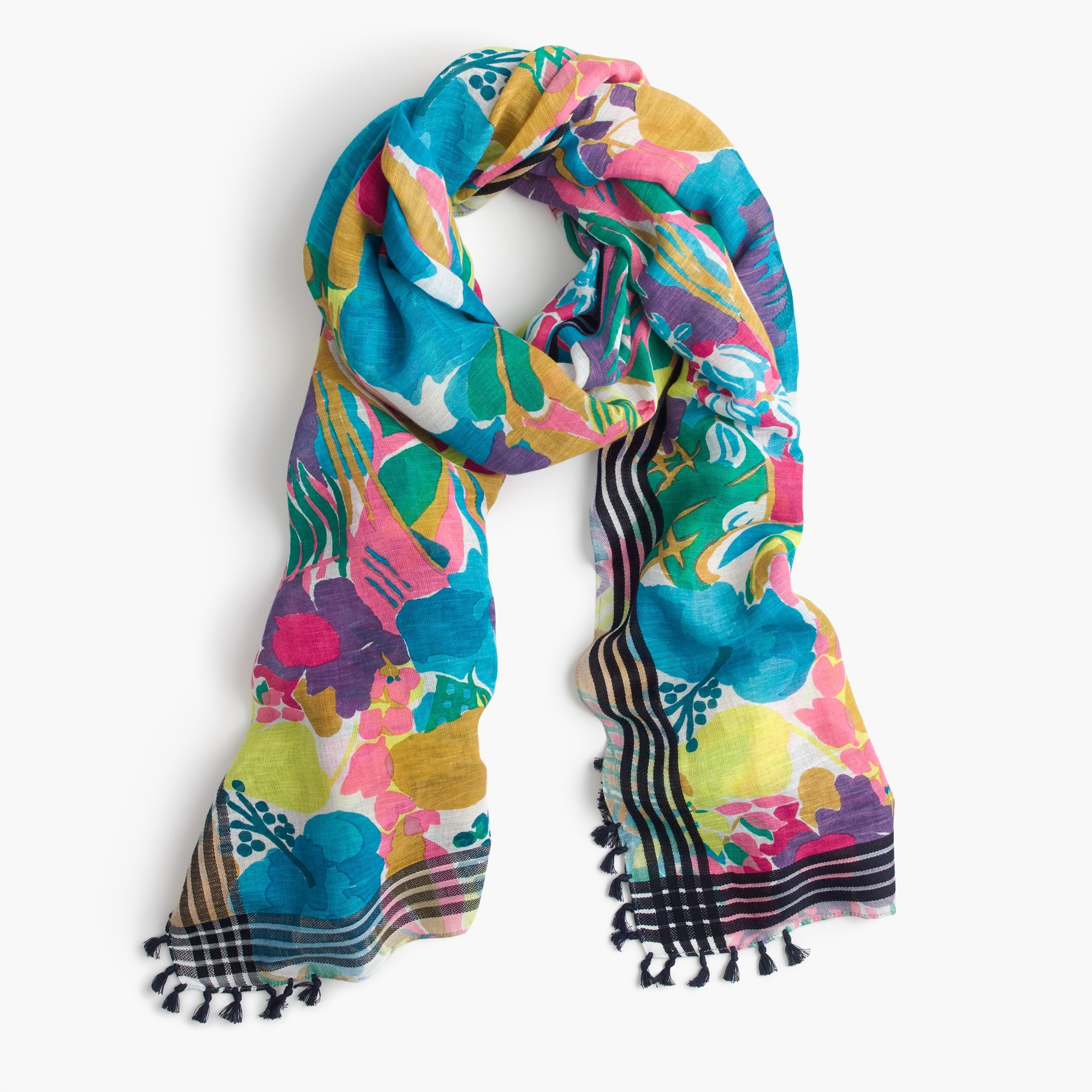 seaside floral scarf with tassels : women accessories