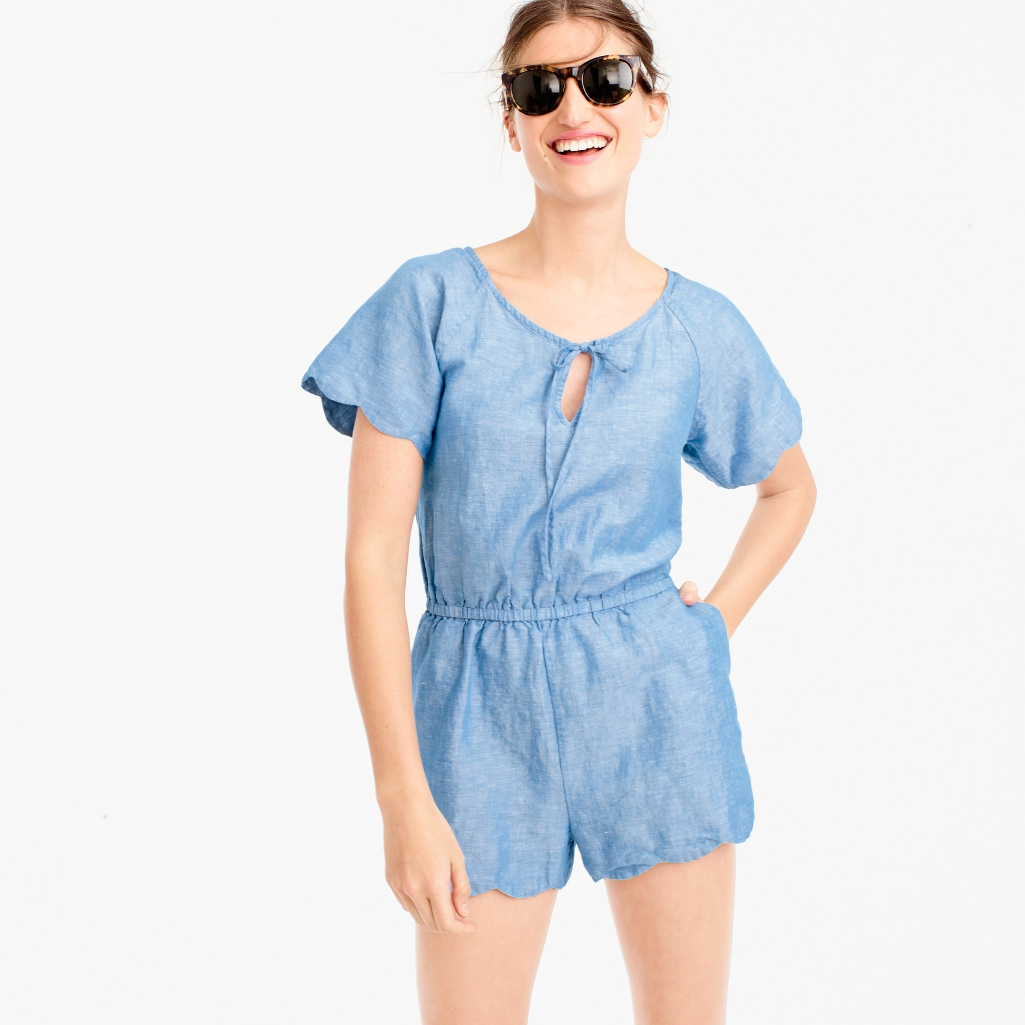 scalloped cotton-linen romper : women swim