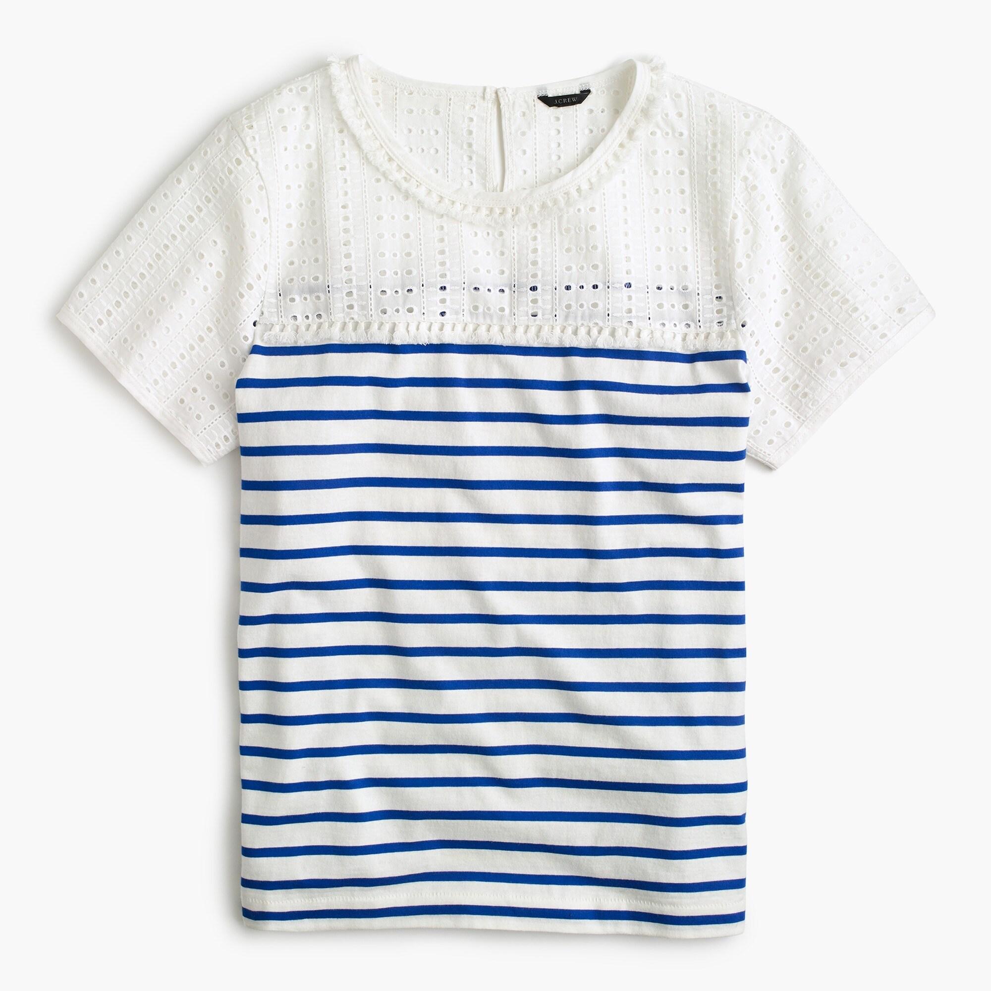 eyelet striped t-shirt : women short sleeve