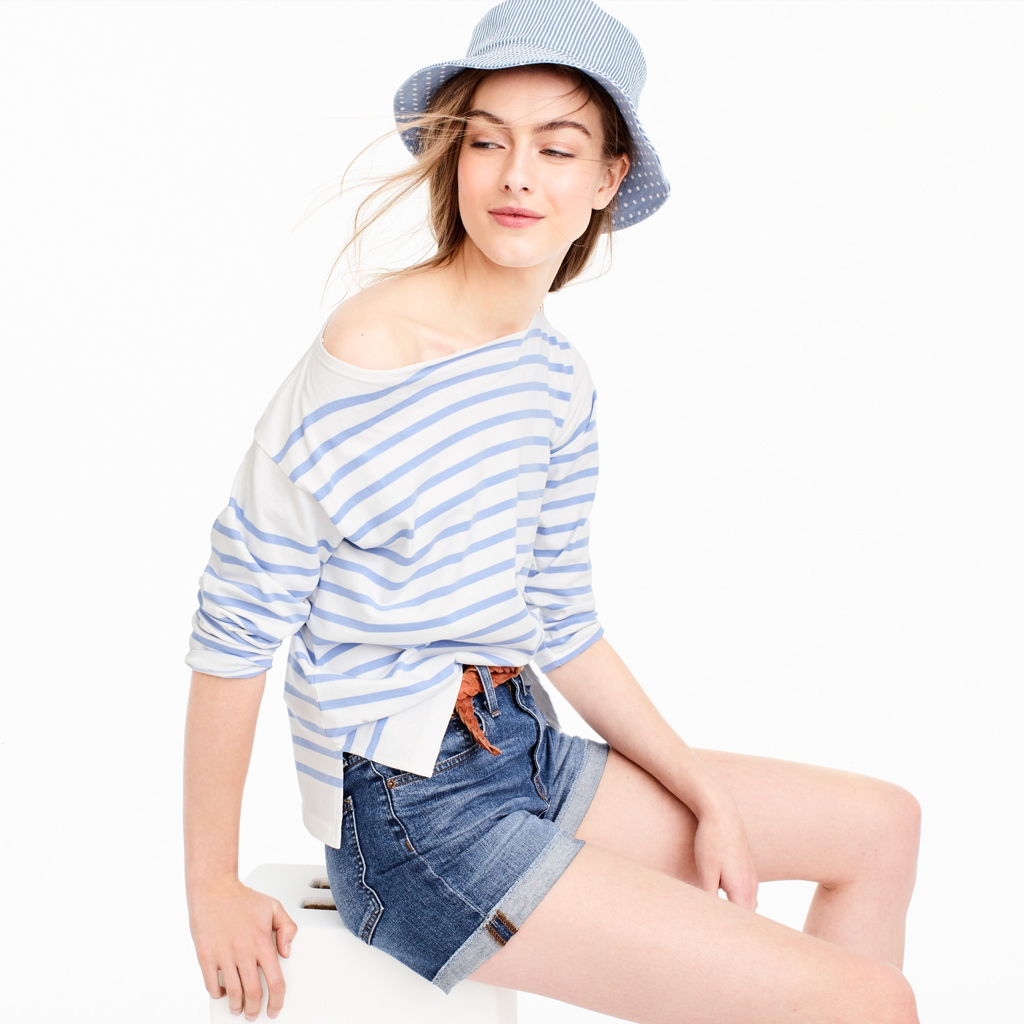 placed stripe boatneck t-shirt : women long sleeve