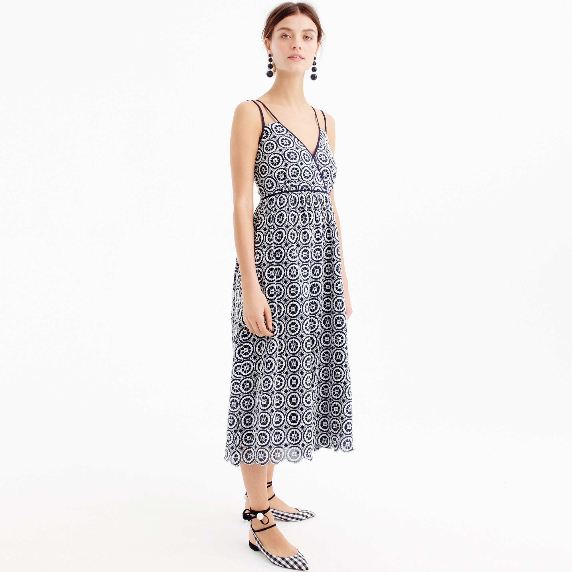 Petite double-strap midi dress in eyelet