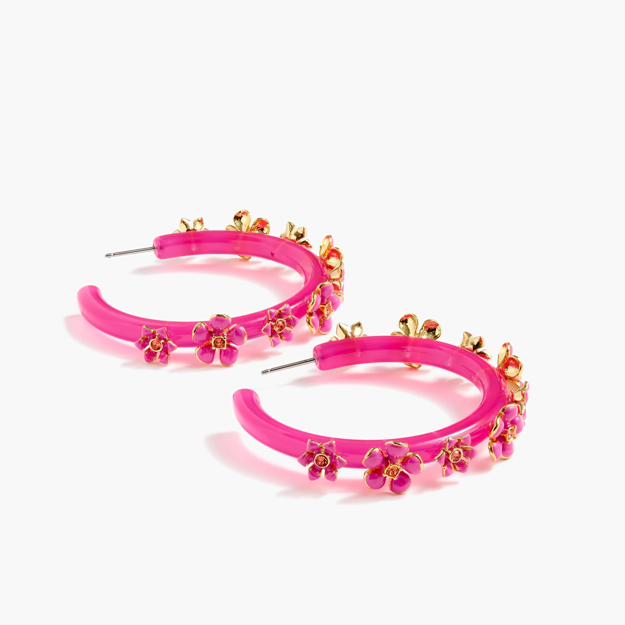 womens Flower clock hoop earrings