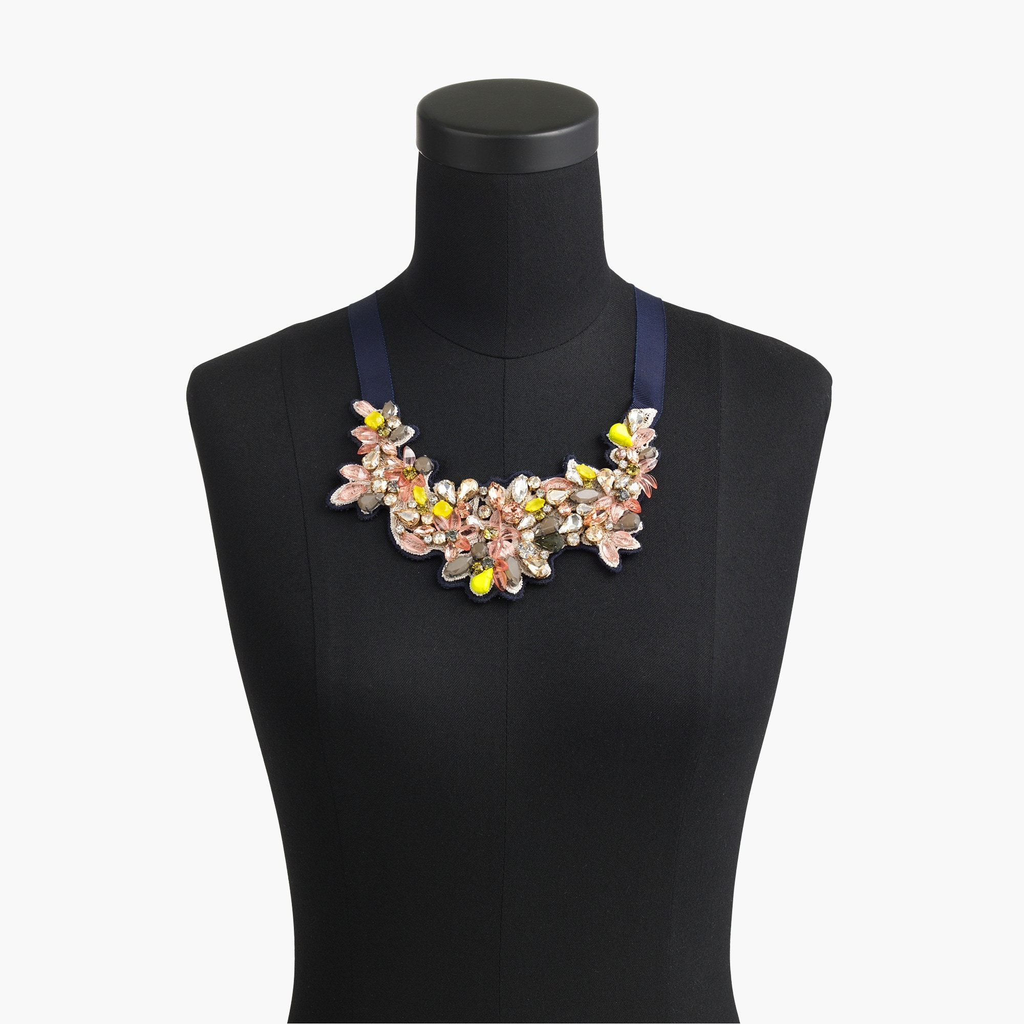 Botanical embroidered crystal bib necklace