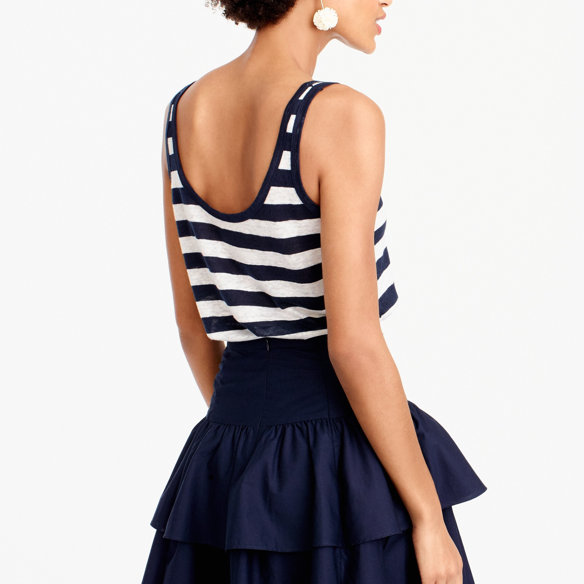 Scoopneck linen tank top in stripe